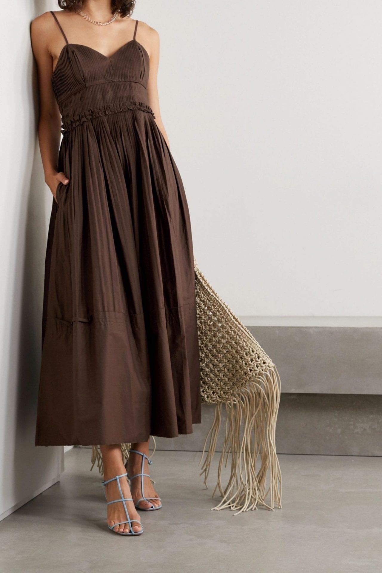 NICHOLAS Abrielle Pleated Cotton-poplin Maxi Dress