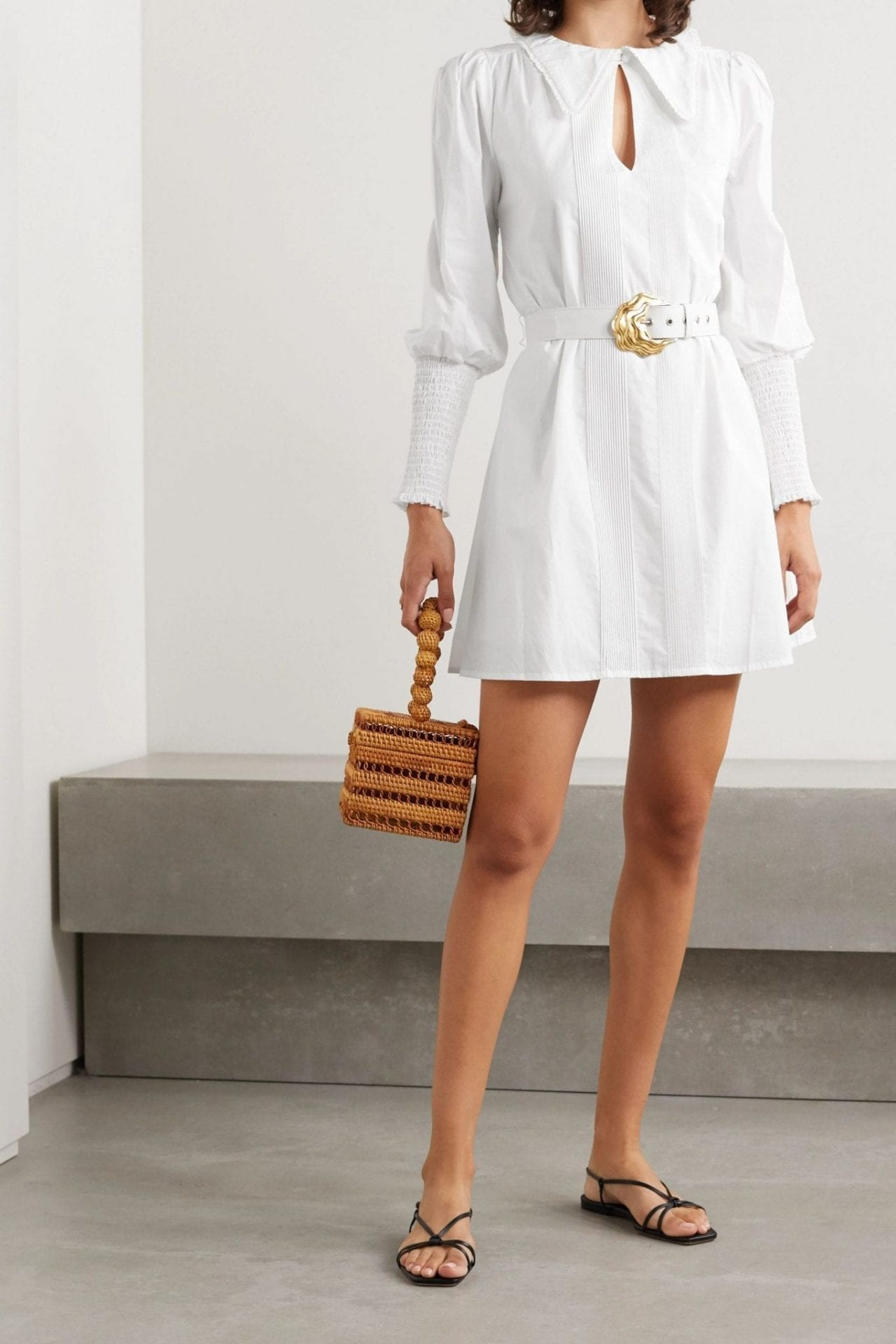 NICHOLAS Bella Belted Shirred Cotton-poplin Mini Shirt Dress