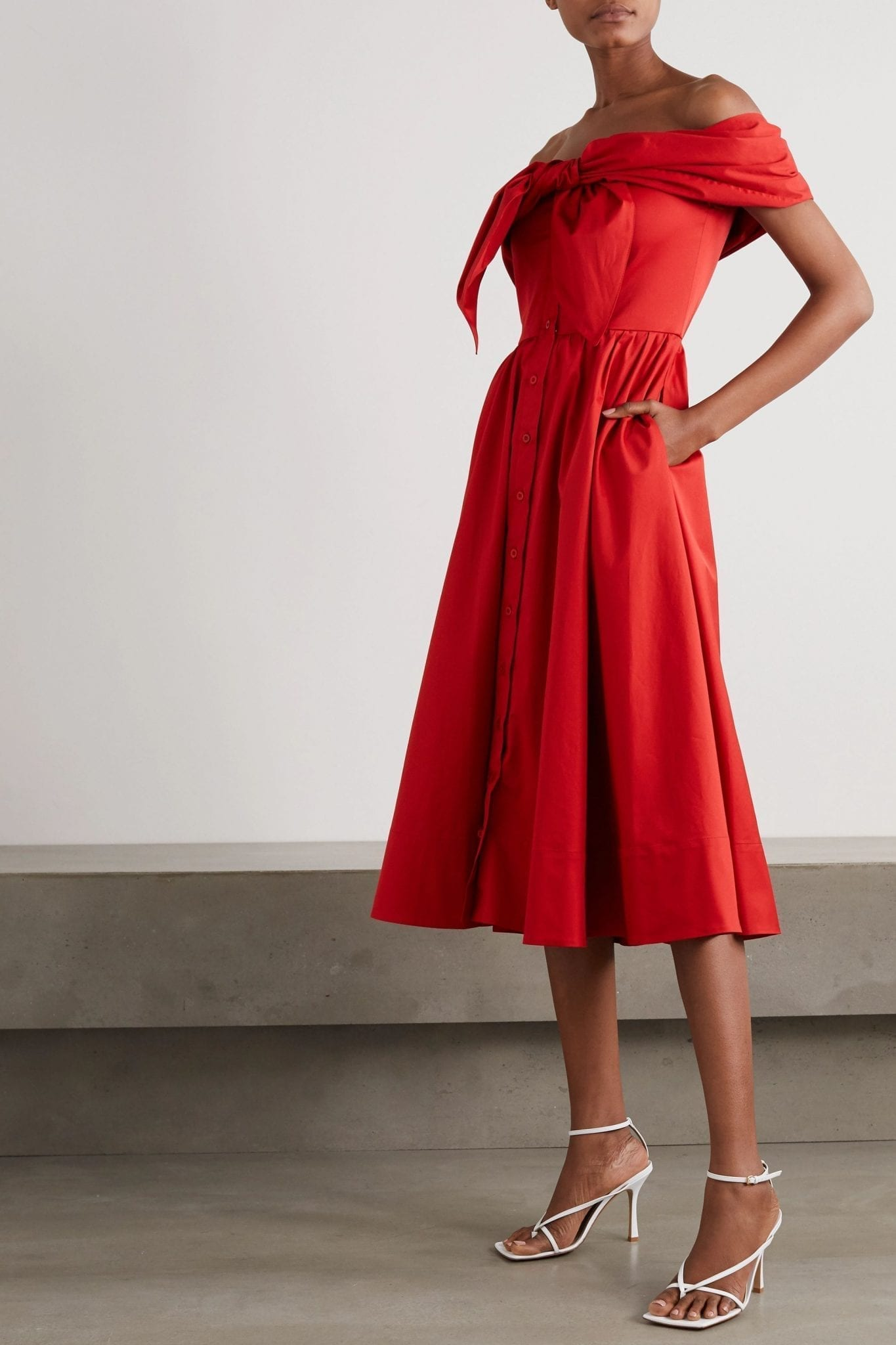 OSCAR DE LA RENTA Off-the-shoulder Draped Cotton-blend Poplin Midi Dress