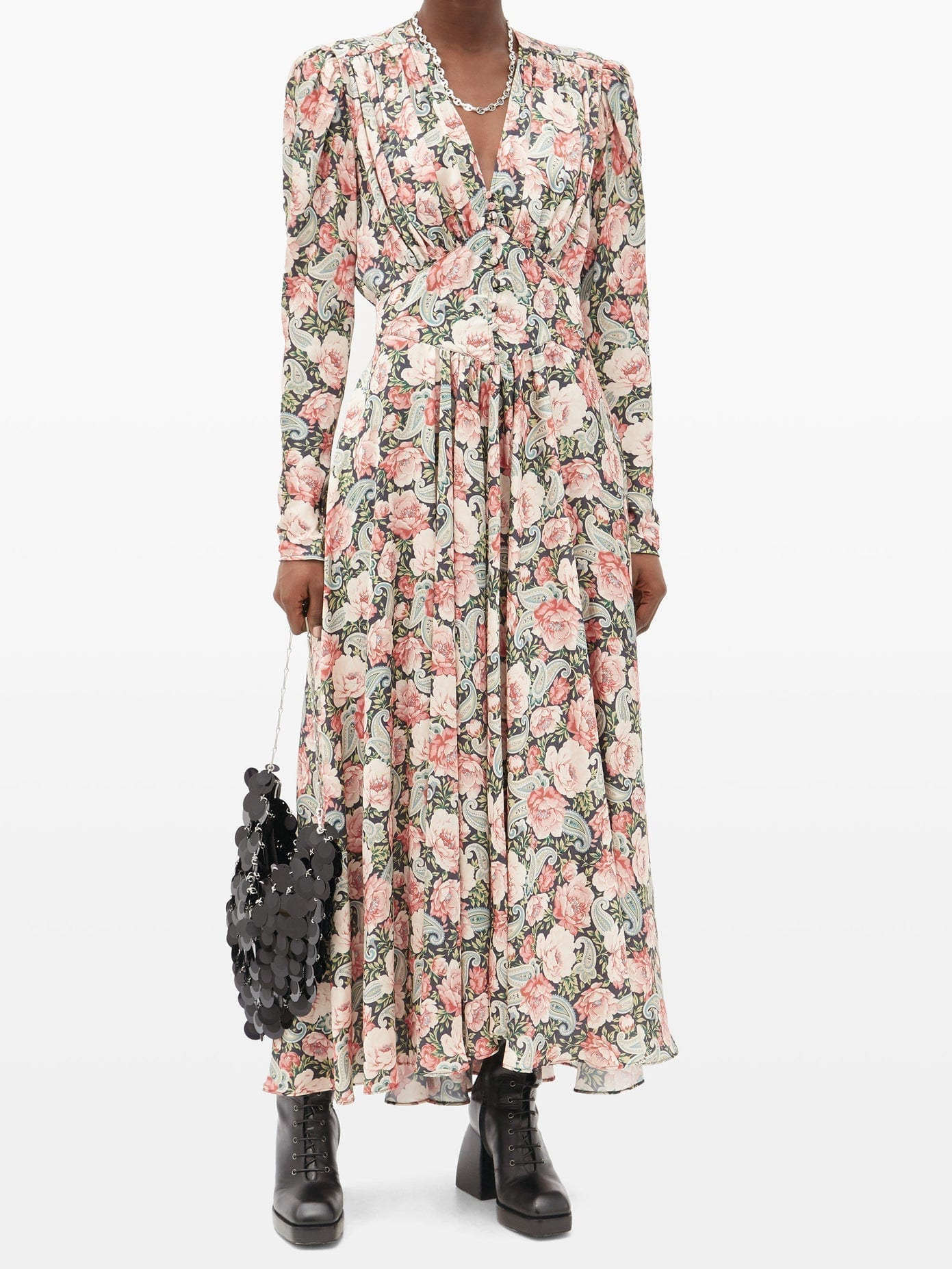 PACO RABANNE Gathered Paisley And Floral-print Satin Dress