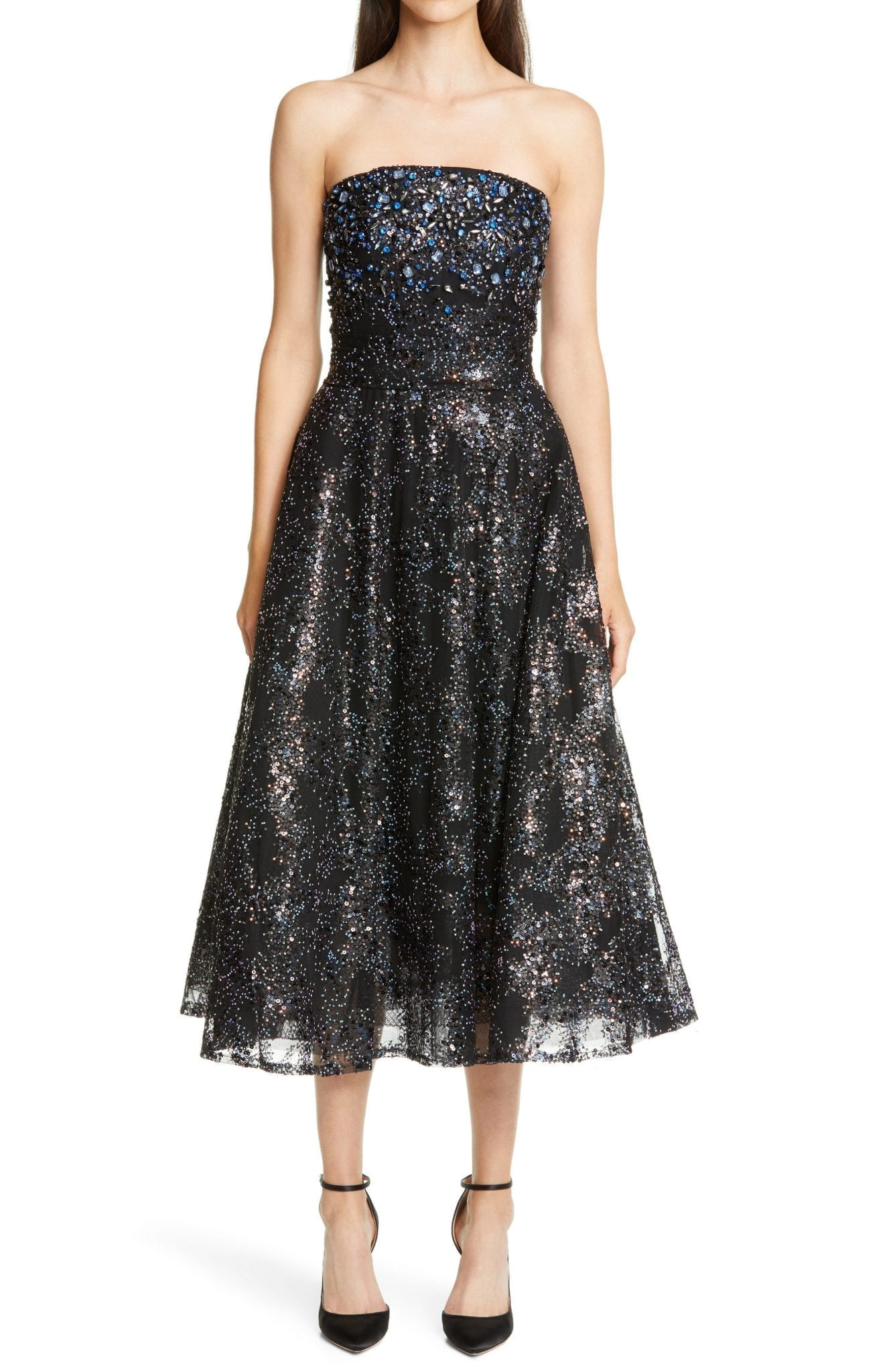 PAMELLA ROLAND Embellished Strapless Fit & Flare Midi Dress