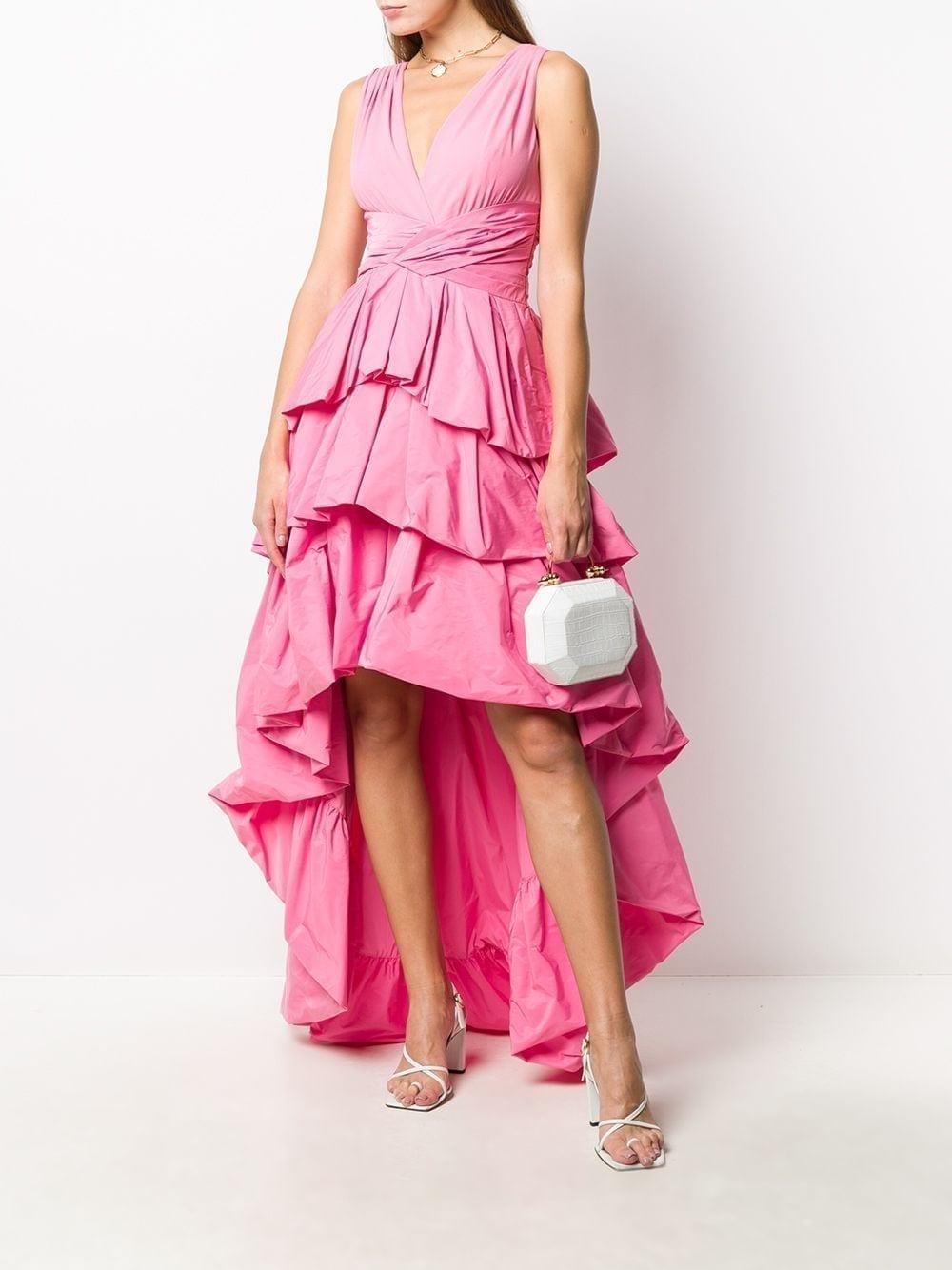 PAULE KA Ruffled High Low Dress
