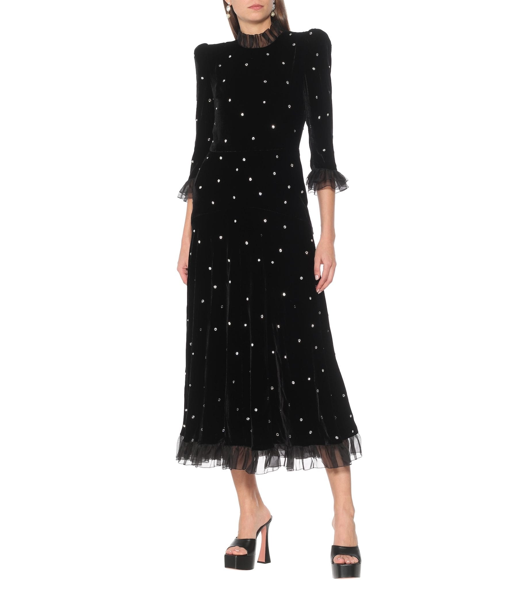 PHILOSOPHY DI LORENZO SERAFINI Embellished Velvet Midi Dress