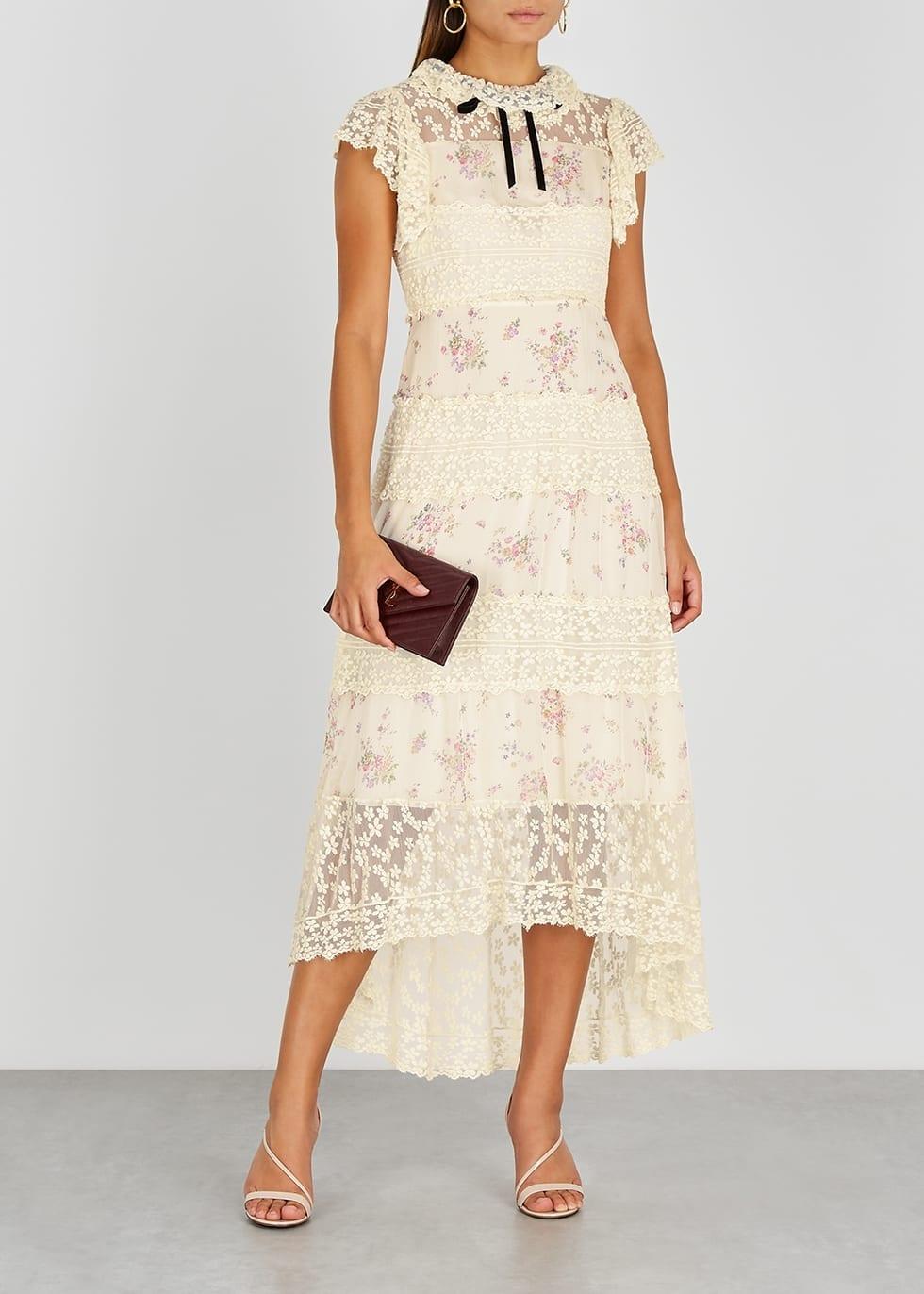 PHILOSOPHY DI LORENZO SERAFINI Ivory Floral-print Chiffon And Lace Midi Dress