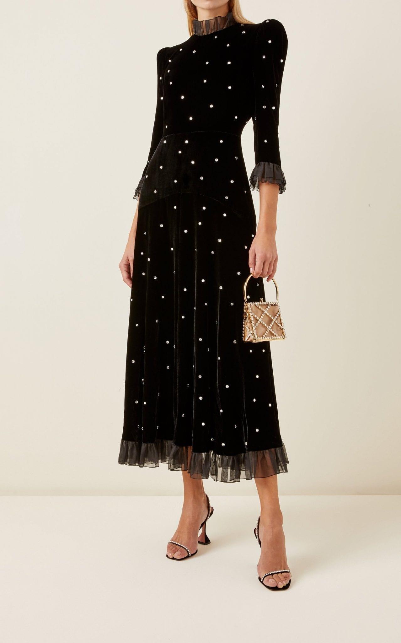 PHILOSOPHY DI LORENZO SERAFINI Organza-Trimmed Crystal-Embellished Velvet Midi Dress