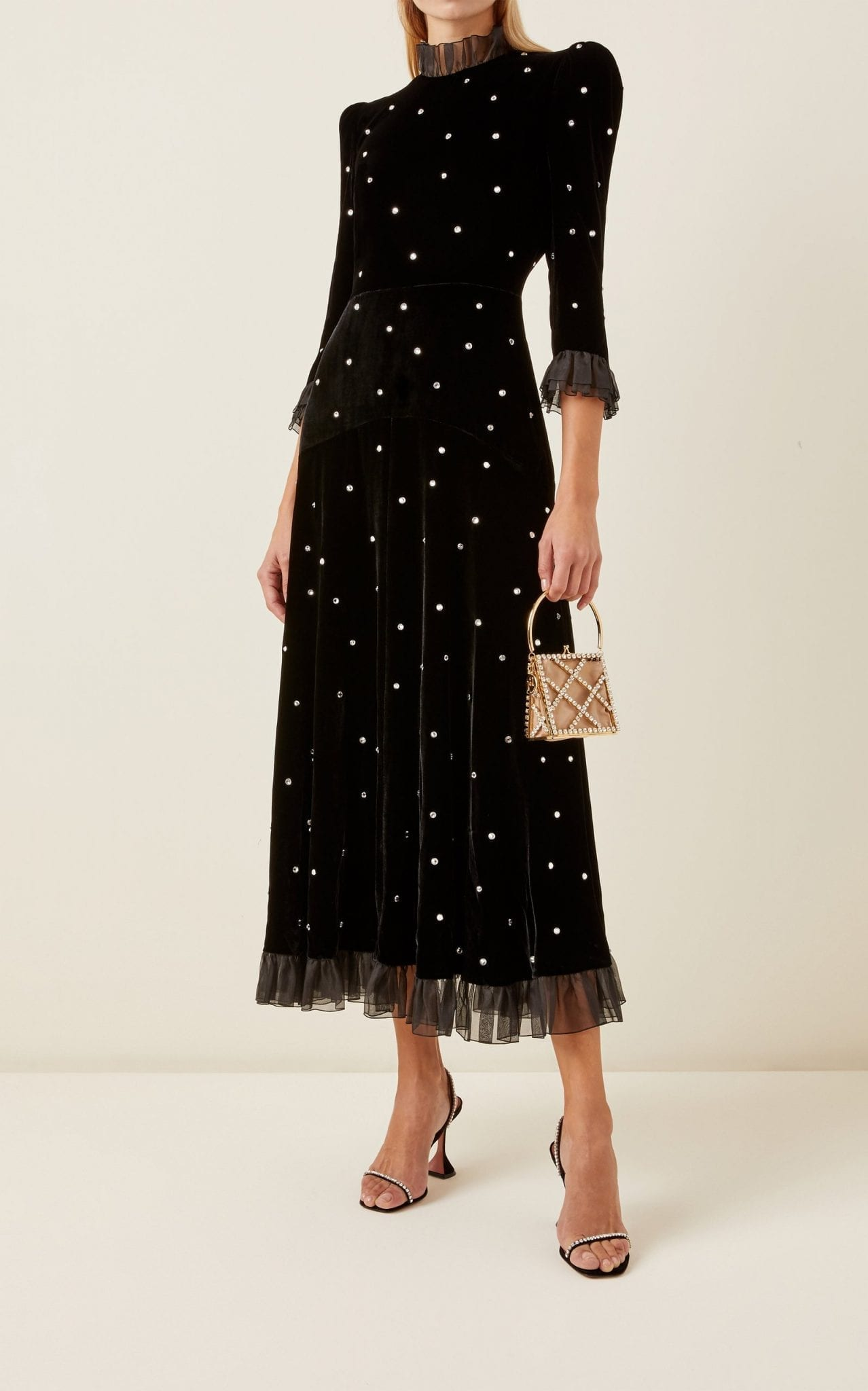 PHILOSOPHY DI LORENZO SERAFINI Organza-Trimmed Crystal-Embellished Velvet Midi Dress
