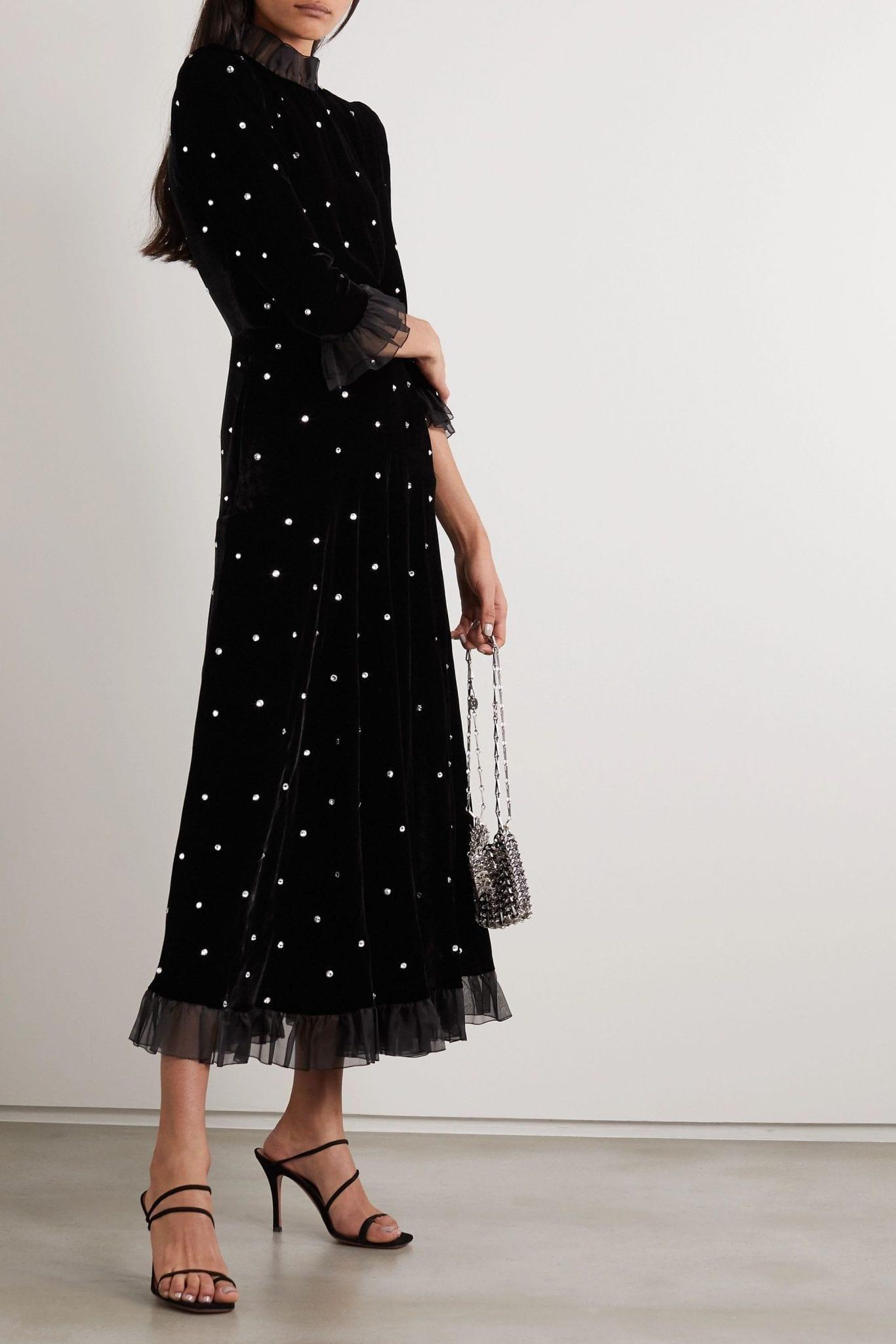 PHILOSOPHY DI LORENZO SERAFINI Tulle-trimmed Crystal-embellished Velvet Midi Dress