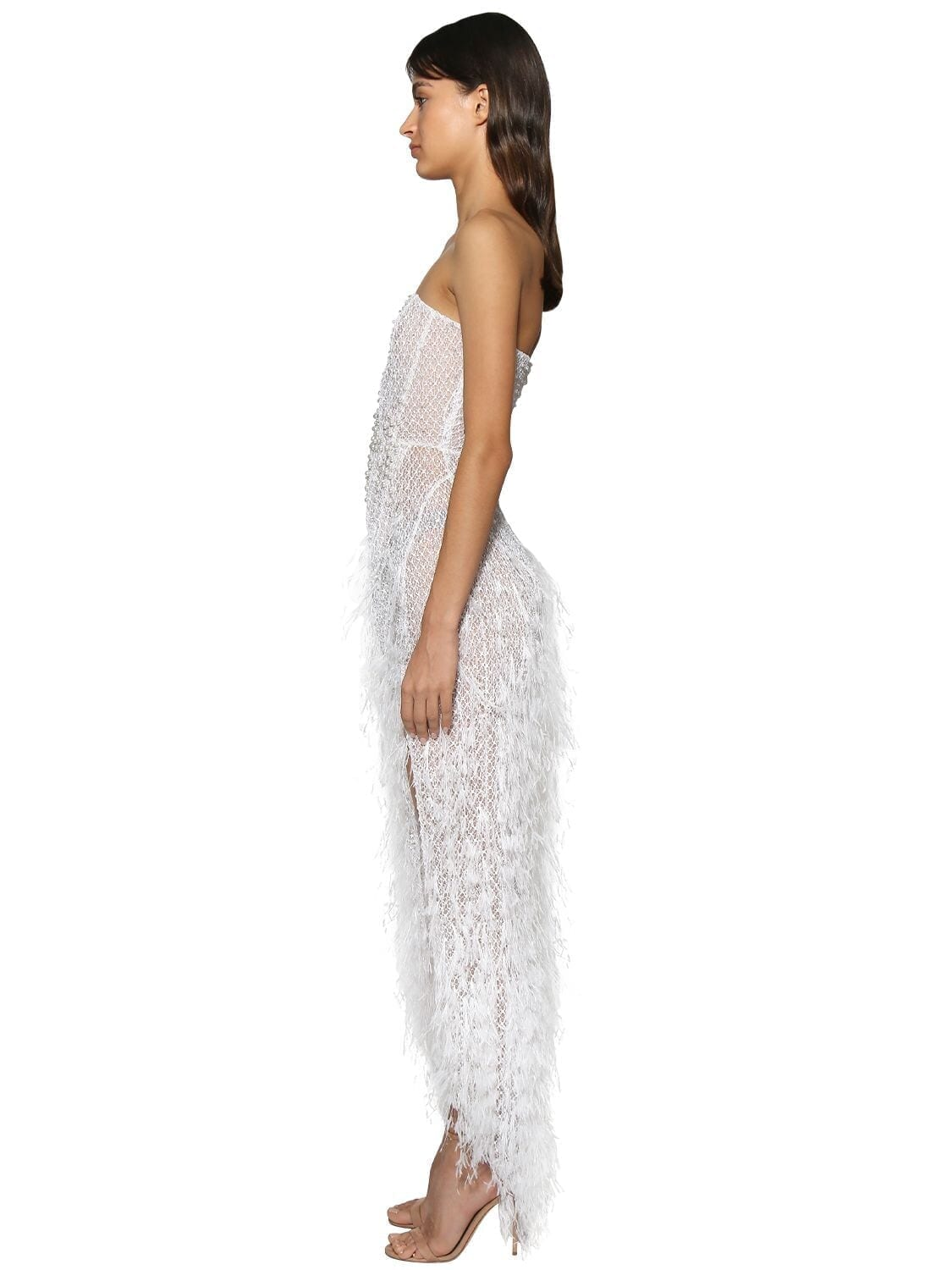 RALPH & RUSSO Embellished Strapless Lace Dress