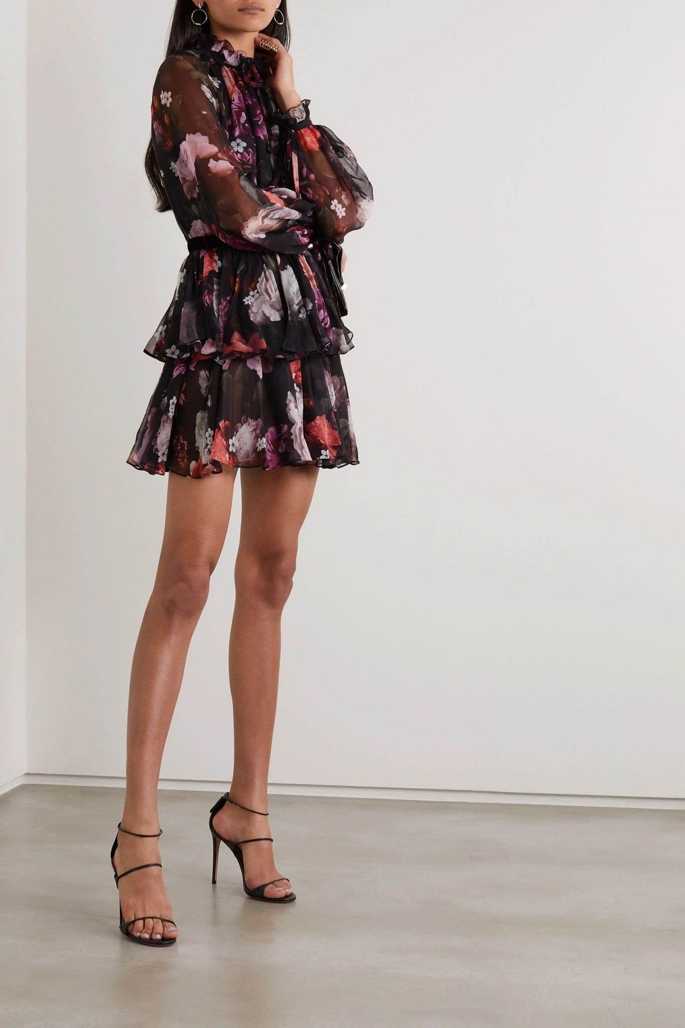 RALPH & RUSSO Velvet-trimmed Tiered Floral-print Silk-chiffon Mini Dress