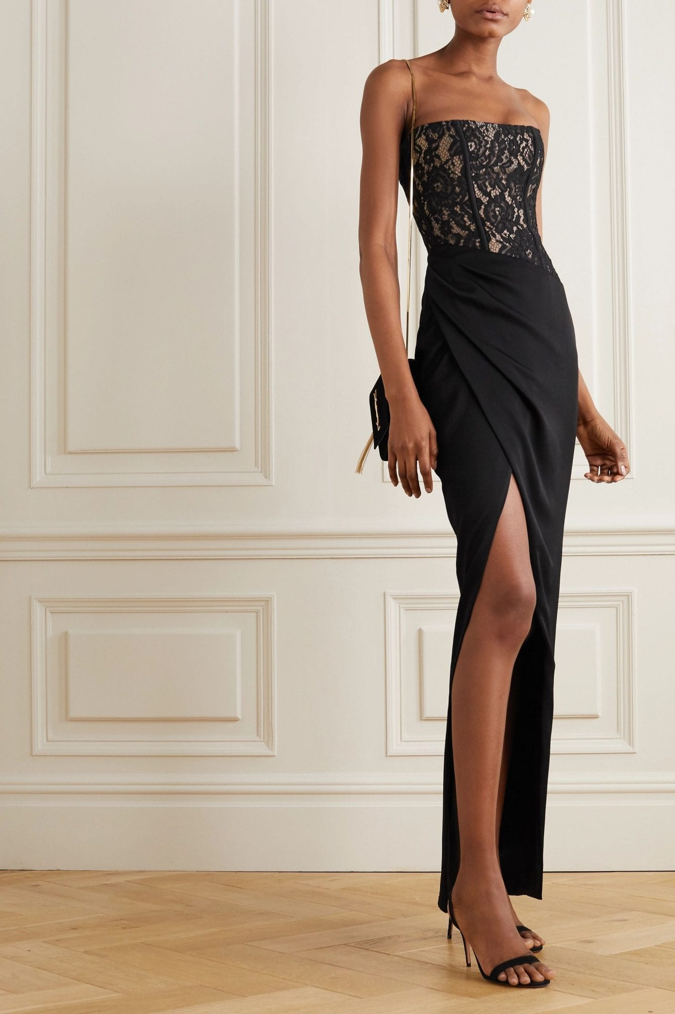 RASARIO Strapless Asymmetric Gathered Lace And Crepe Gown