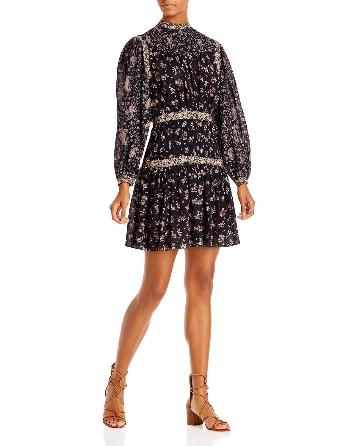 REBECCA TAYLOR La Vie Mixed Print Dress