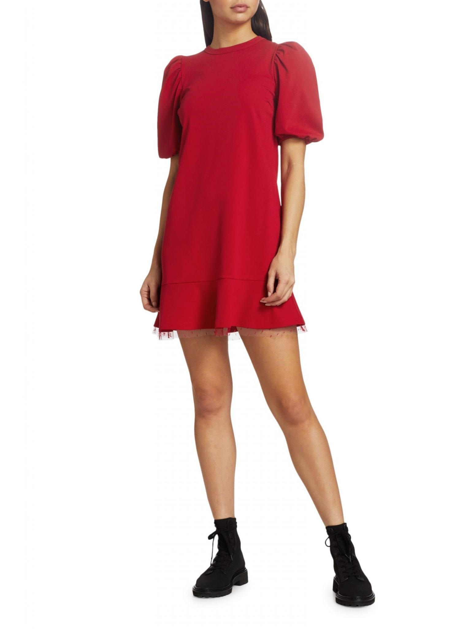 REDVALENTINO Abito Jersey Puff-Sleeve Dress