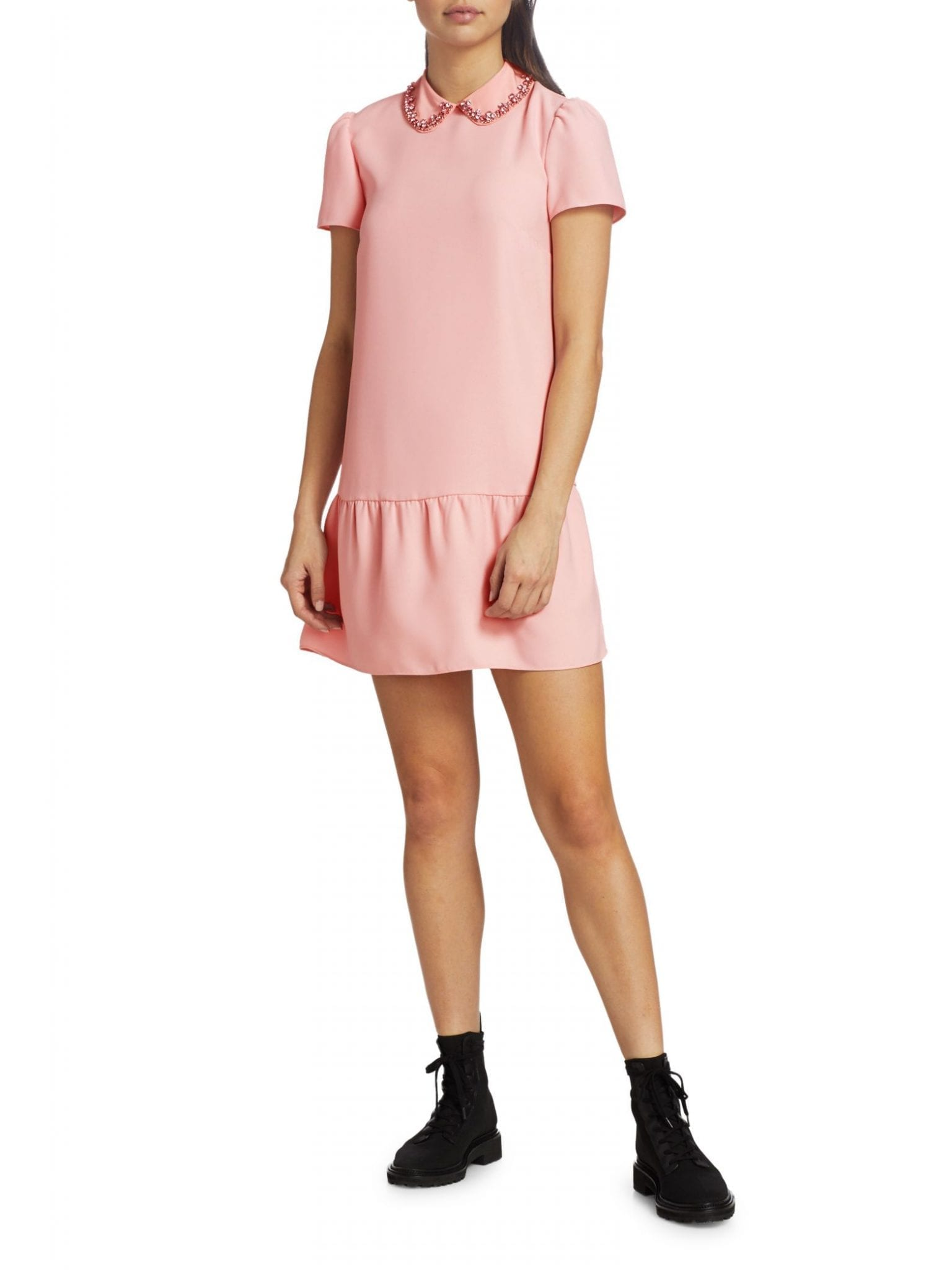 REDVALENTINO Jewel Collar Silk Dress