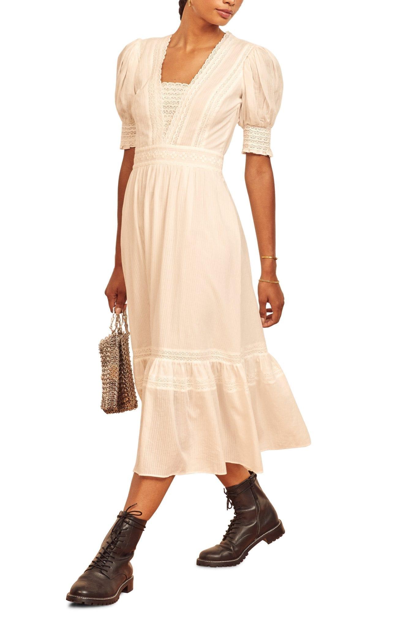 REFORMATION Betsie Lace Detail Organic Cotton Midi Dress