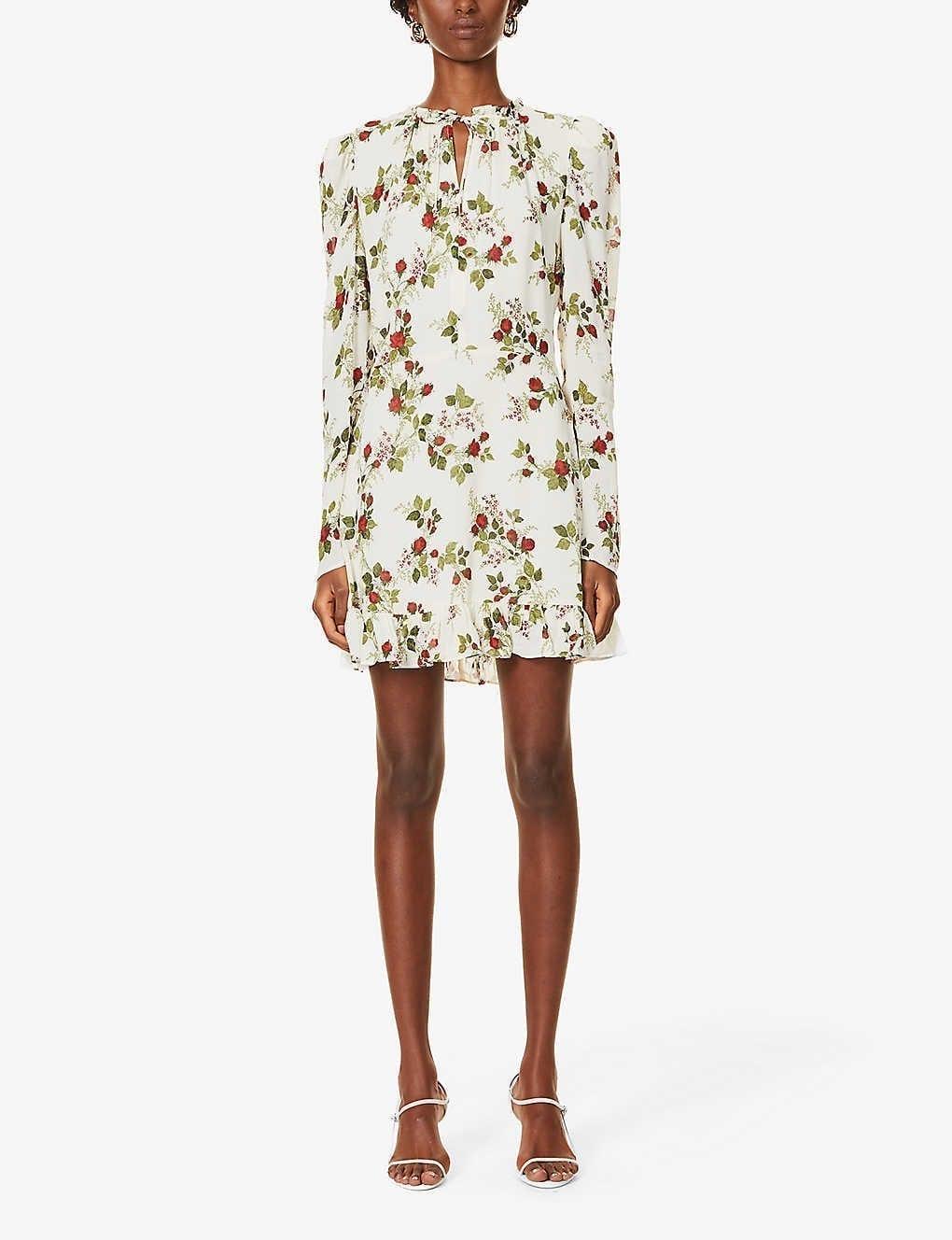 REFORMATION Macy Floral-print Crepe Mini Dress