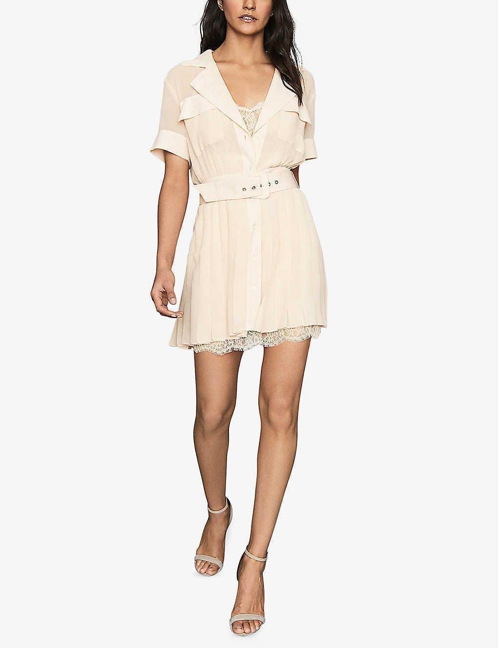 REISS Fiona Lace-detail Crepe Mini Dress