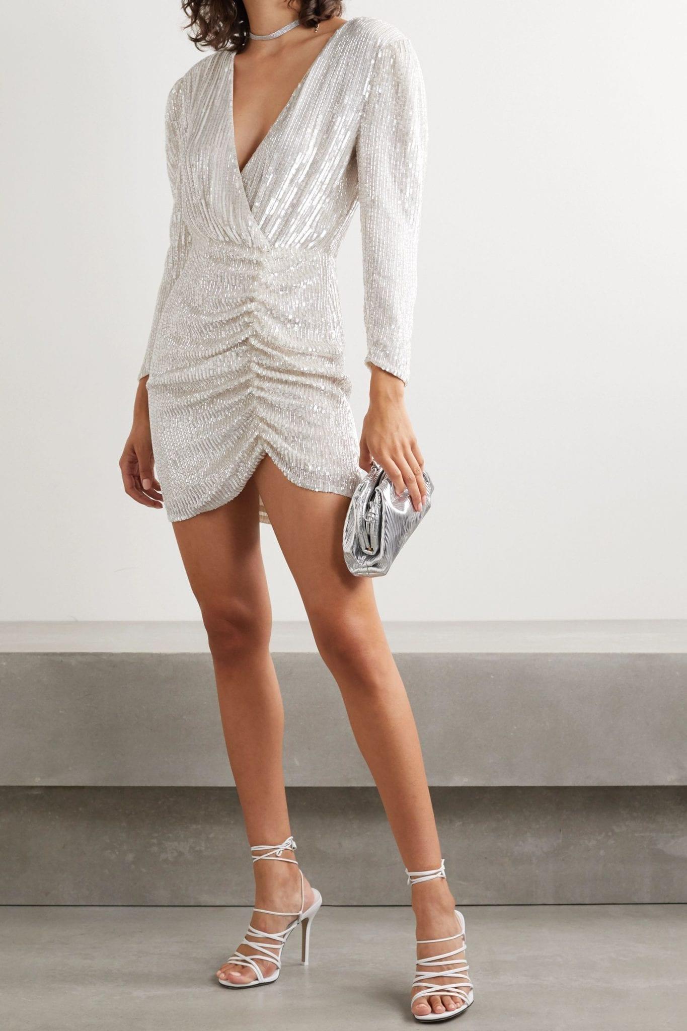 RETROFÊTE Stacey Gathered Embellished Chiffon Mini Dress