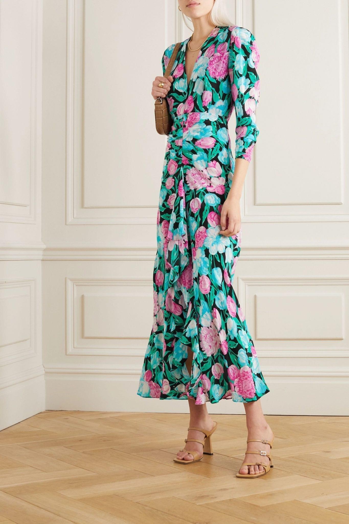RIXO Paloma Open-back Floral-print Silk Crepe De Chine Midi Dress