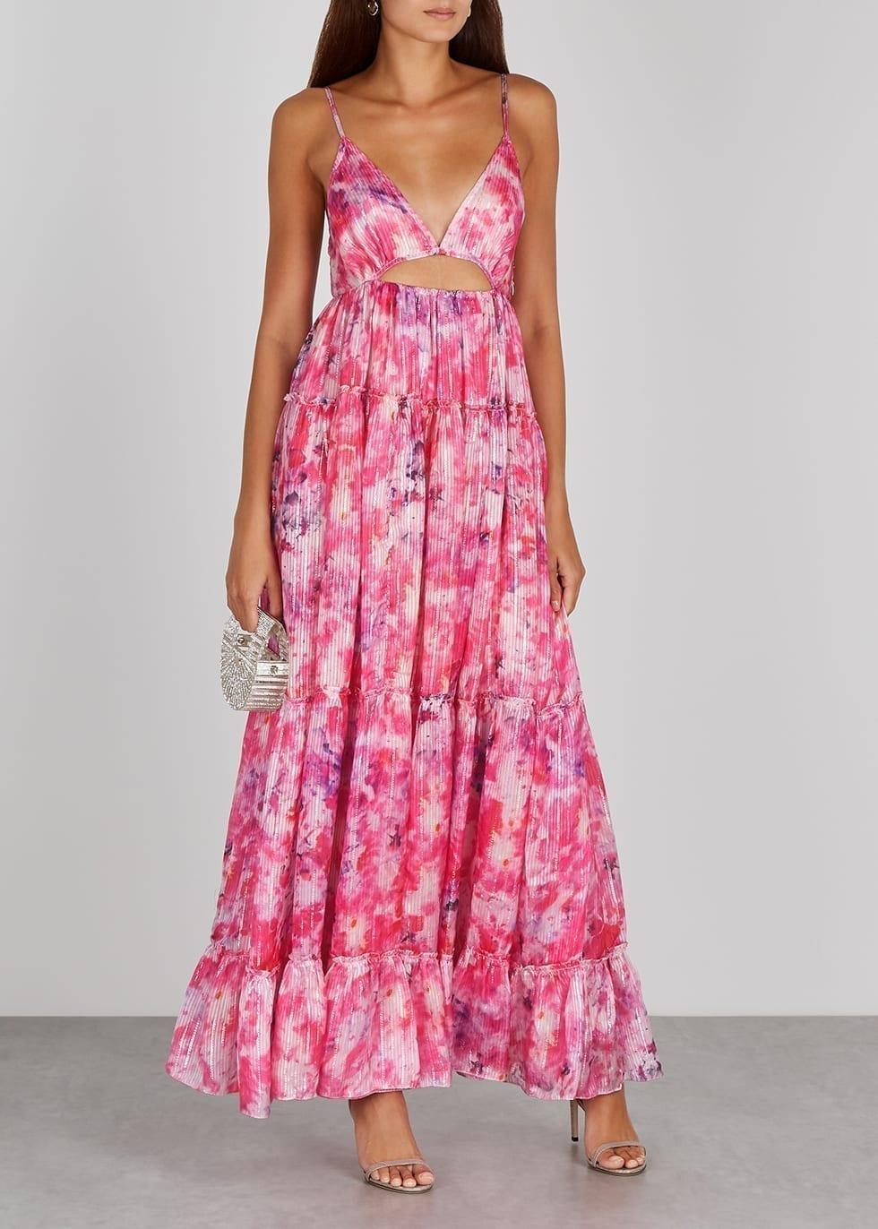 ROCOCO SAND Hikari Pink Lamé-weave Satin Maxi Dress