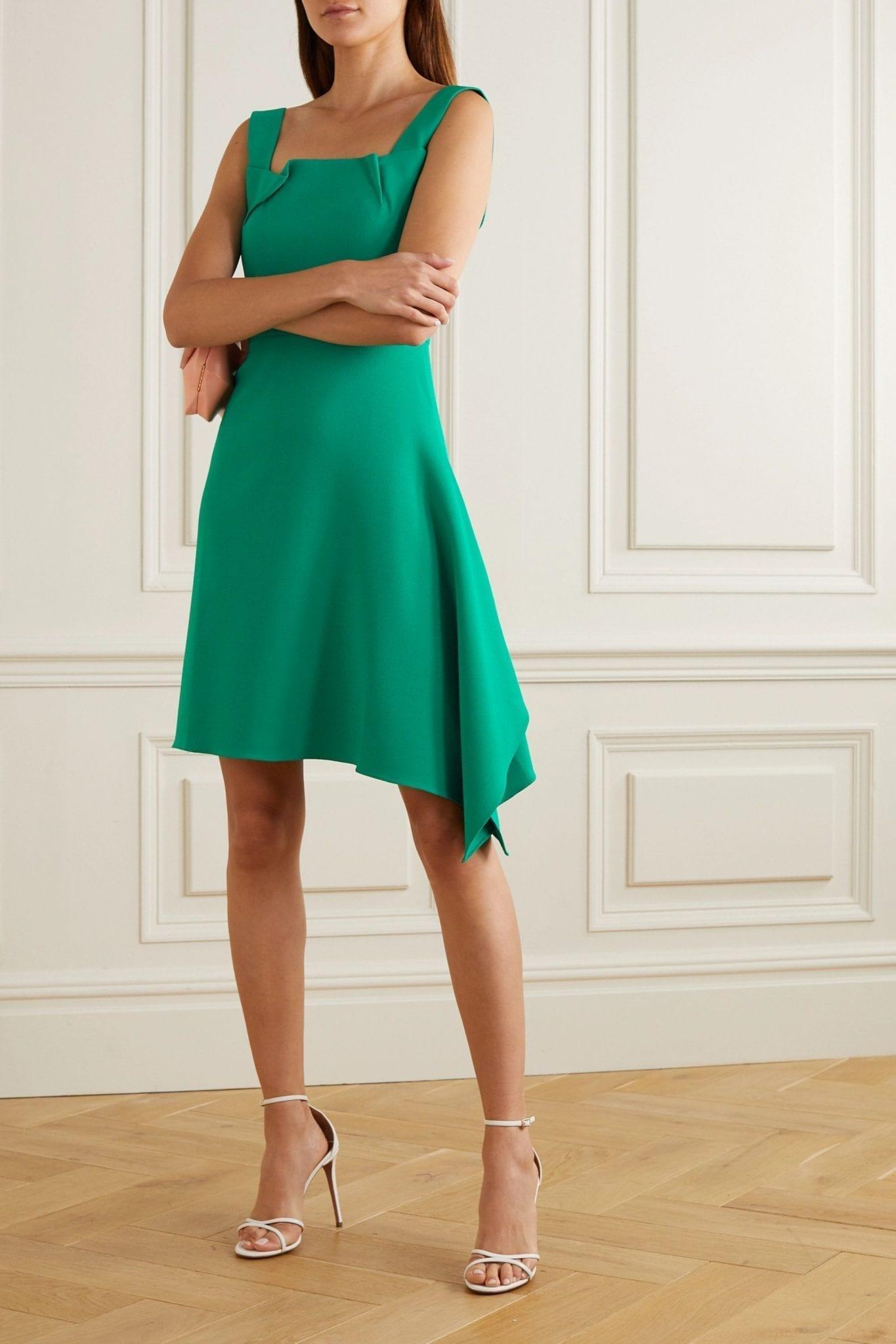 ROLAND MOURET Caracalla Asymmetric Draped Crepe Mini Dress