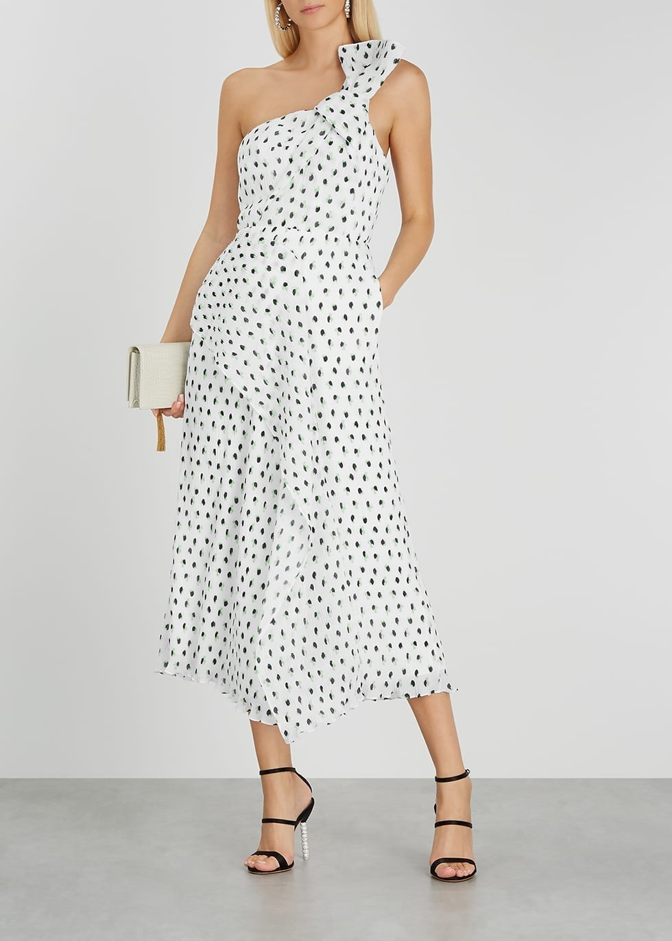 ROLAND MOURET Giza White Polka-dot Plissé Midi Dress
