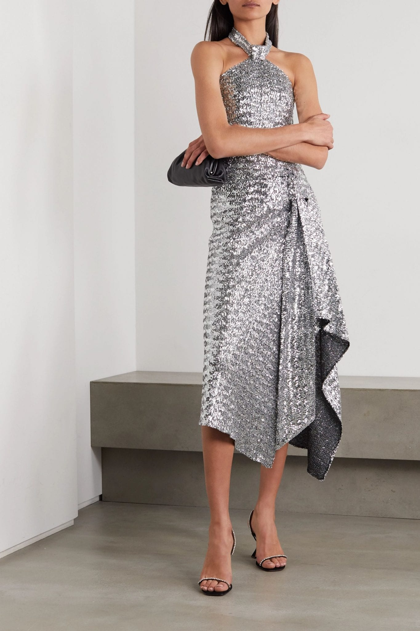ROLAND MOURET Halse Asymmetric Sequined Jersey Halterneck Midi Dress