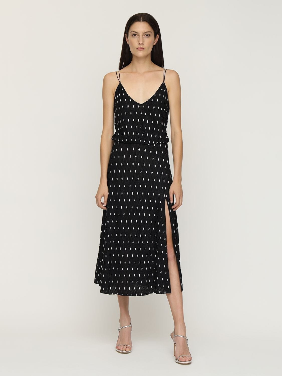ROTATE Ofelia Polka Dots Midi Dress