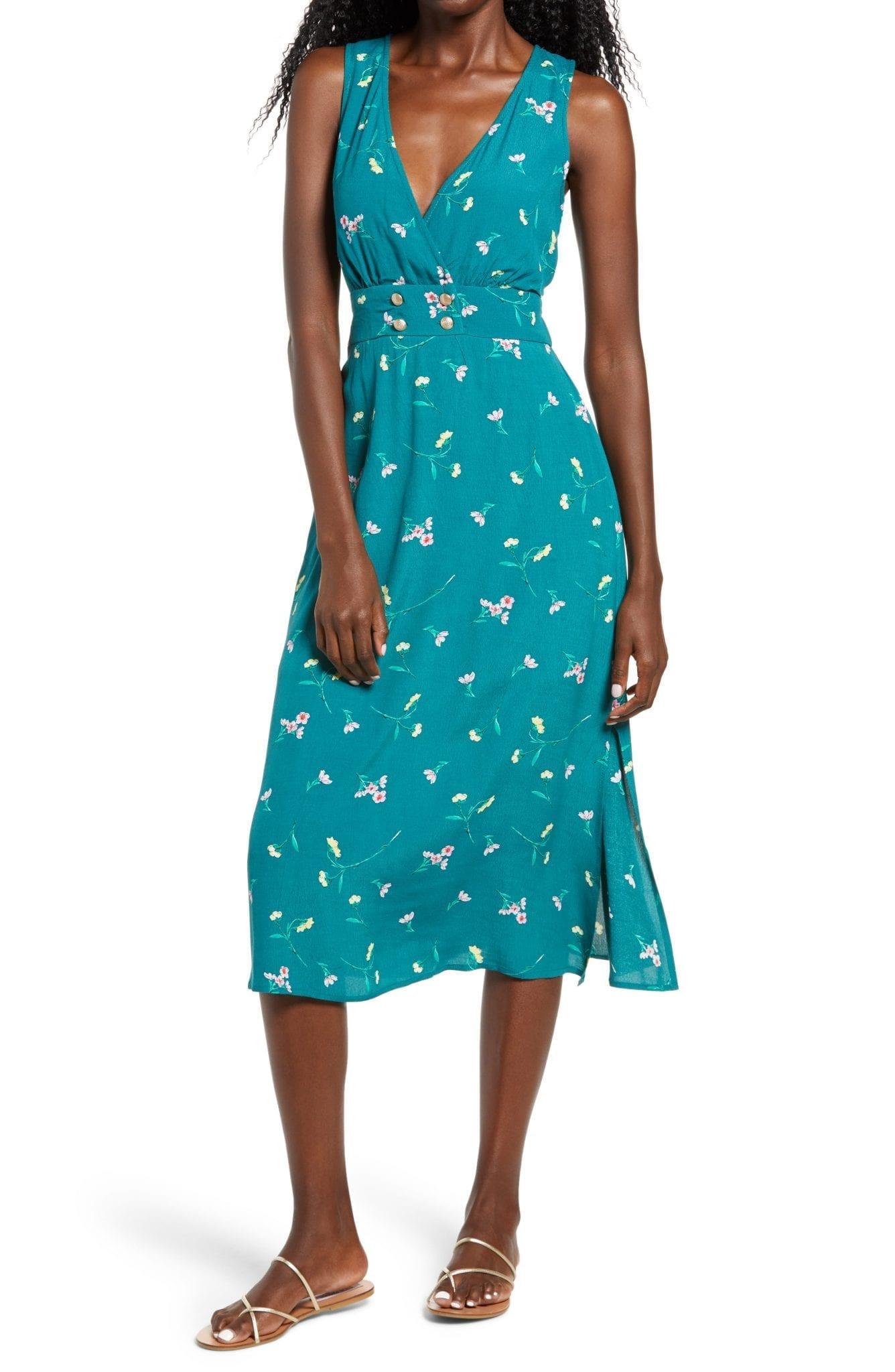 ROW A Print Double Breasted Sleeveless Midi Dress