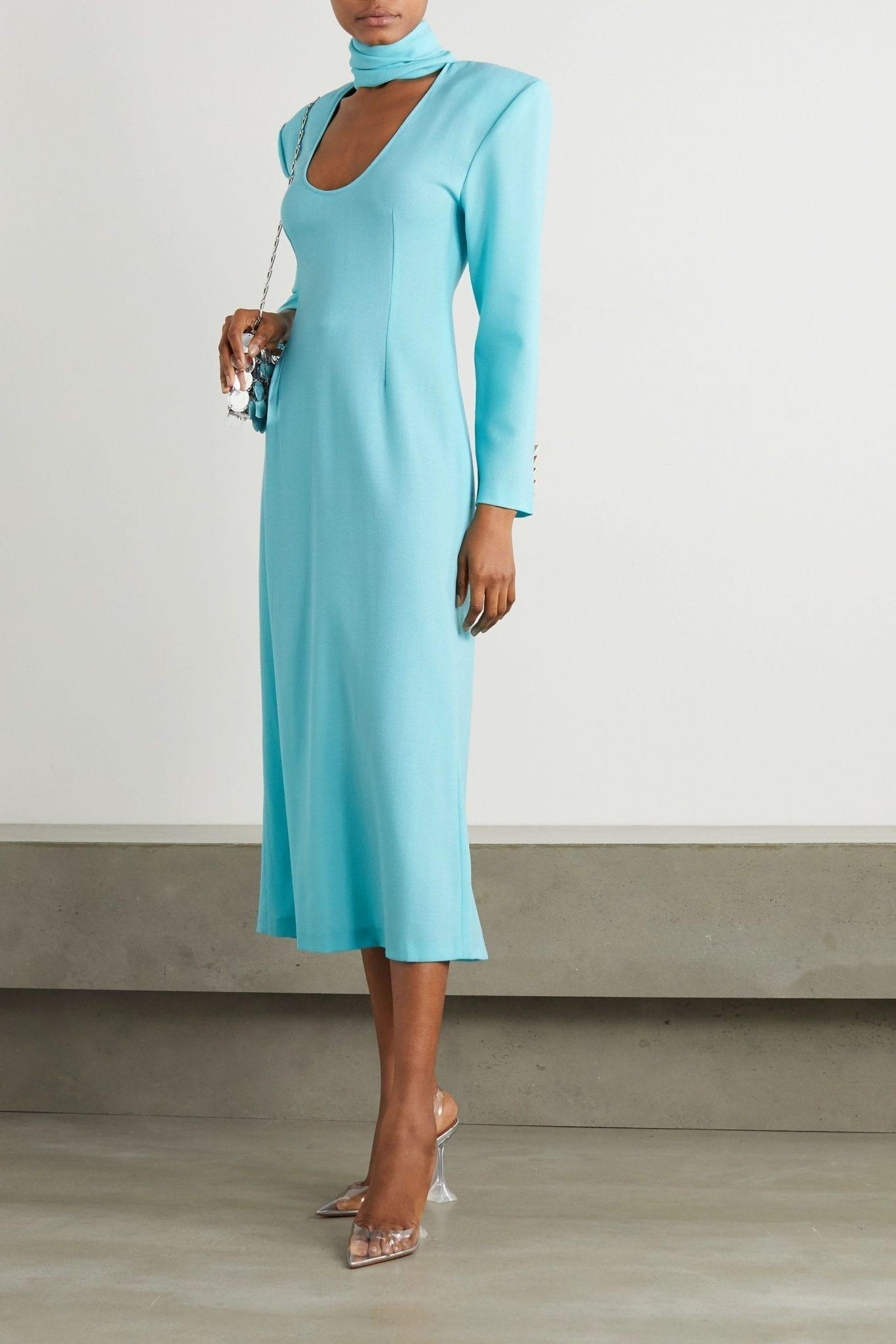 ROWEN ROSE Cutout Wool-crepe Midi Dress