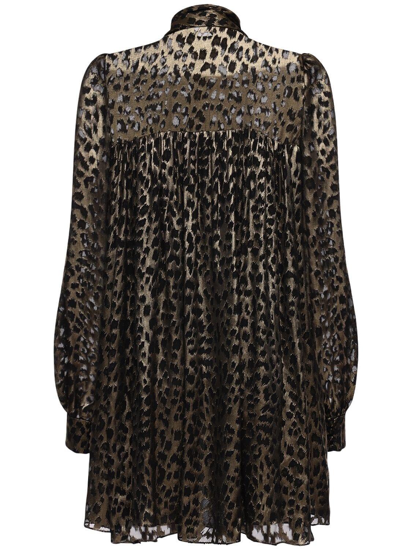 SAINT LAURENT Leopard Print Sheer Satin Mini Dress