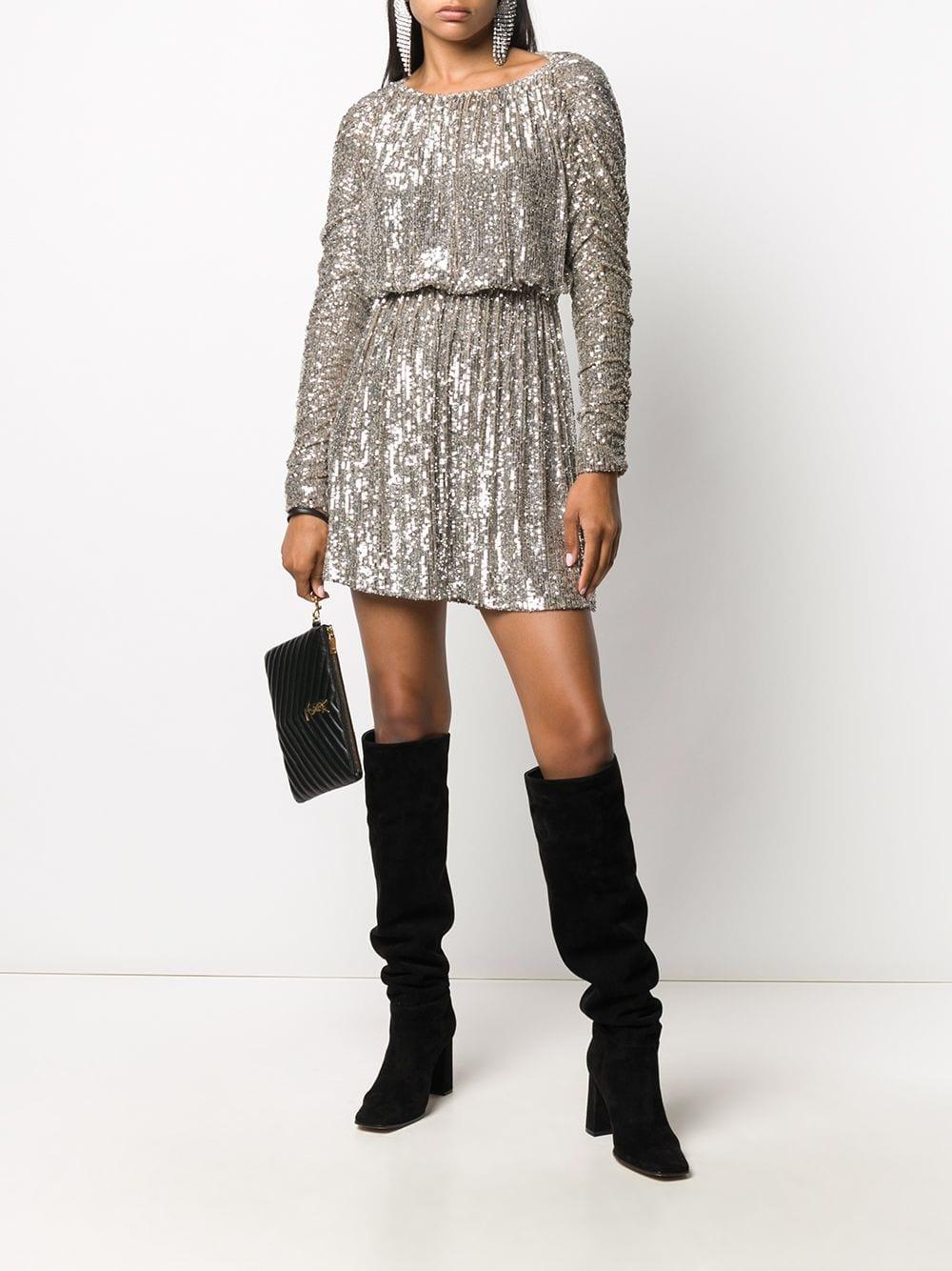 SAINT LAURENT Sequinned Long-sleeve Mini Dress
