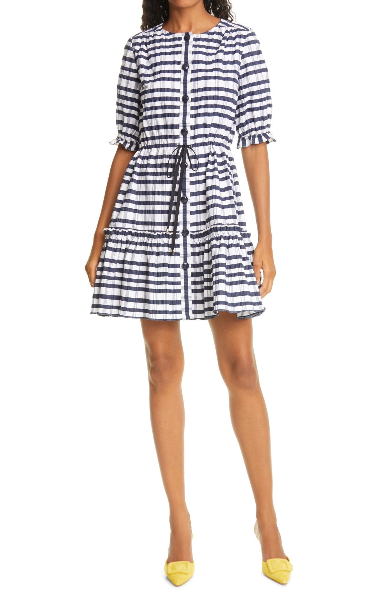 SALONI Billie-c Seersucker Shirt Dress