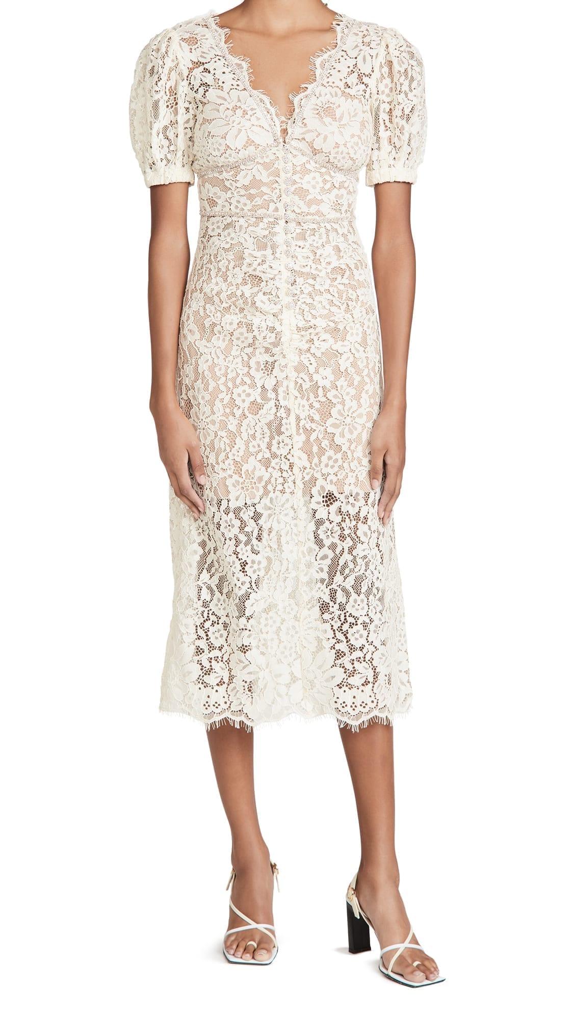 SELF PORTRAIT Fine Corded Lace Midi Dress