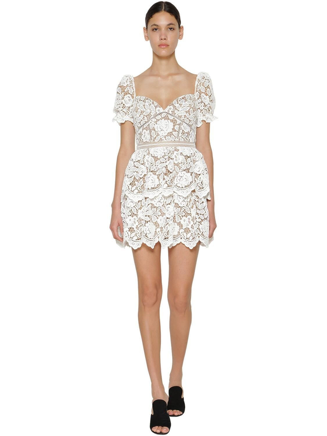 SELF-PORTRAIT Flower Lace Mini Dress