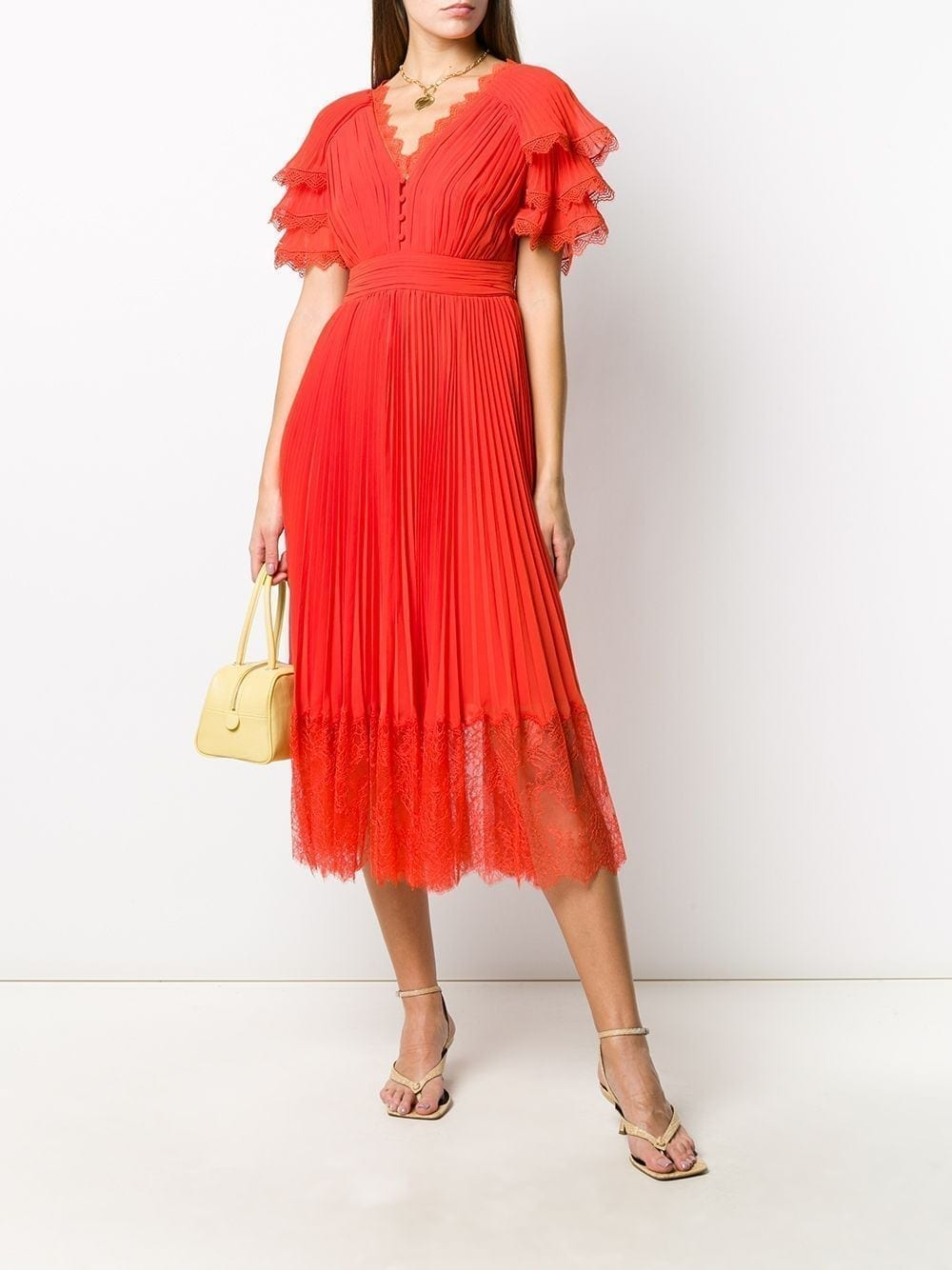 SELF-PORTRAIT Pleated Chiffon Dress