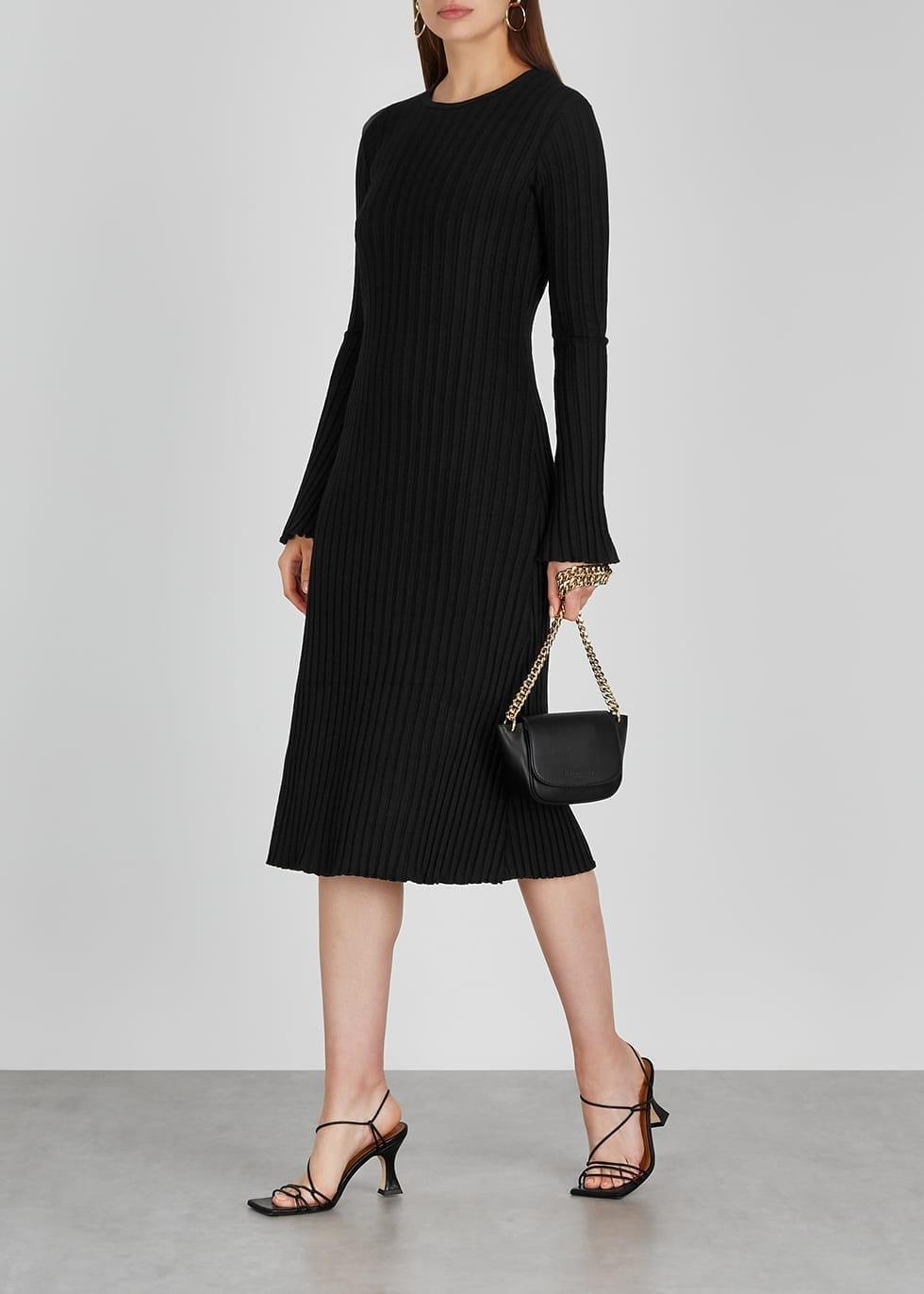 SIMON MILLER Wells Black Ribbed Jersey Midi Dress