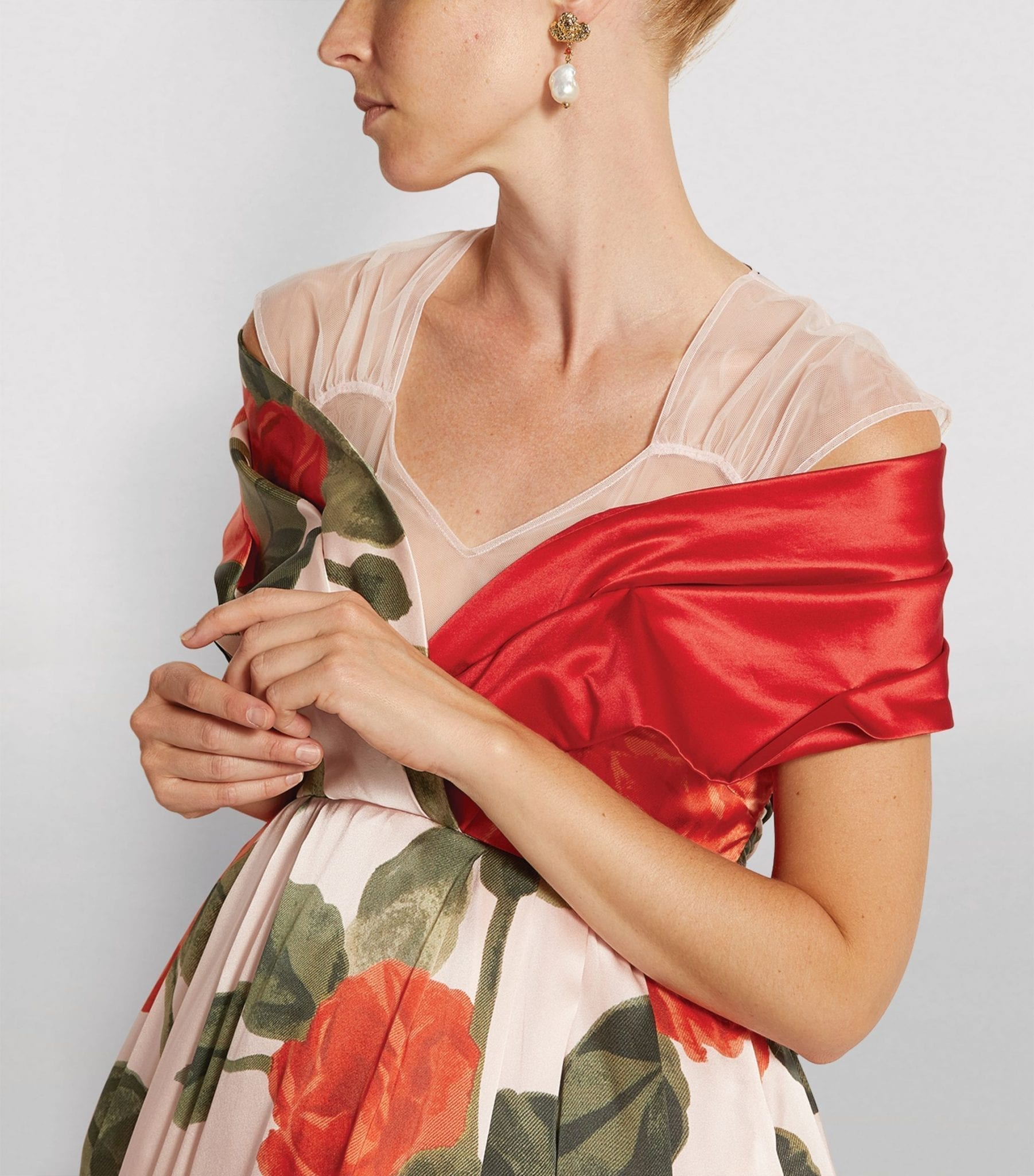 SIMONE ROCHA Silk Floral Asymmetric Dress