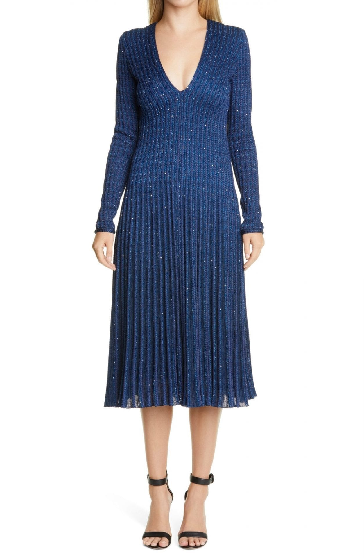 ST. JOHN EVENING Sequin Cable Knit Long Sleeve Sweater Dress