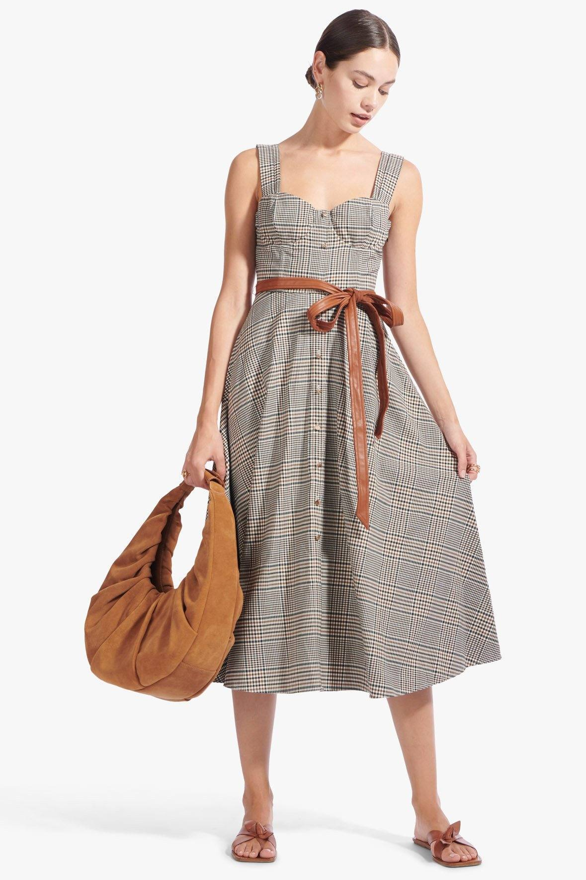 STAUD Glen Plaid Inda Dress