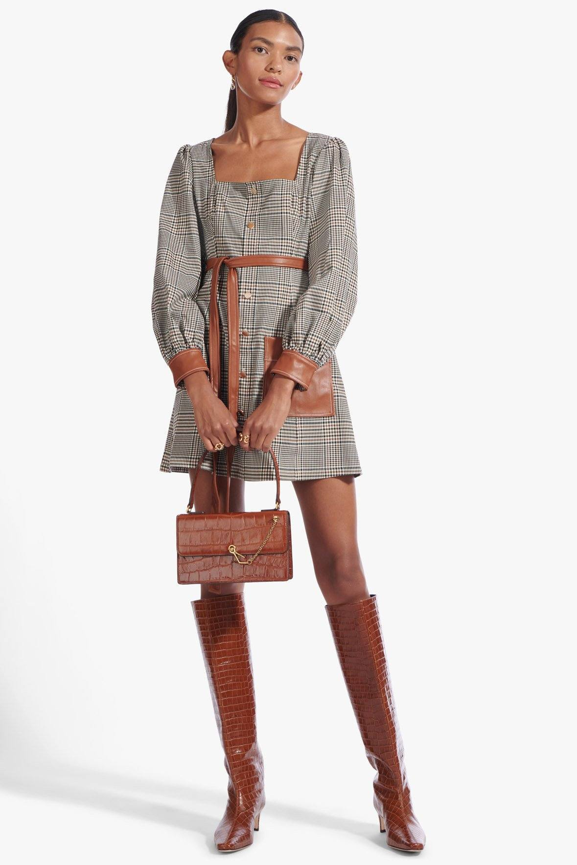 STAUD Glen Plaid Oz Dress