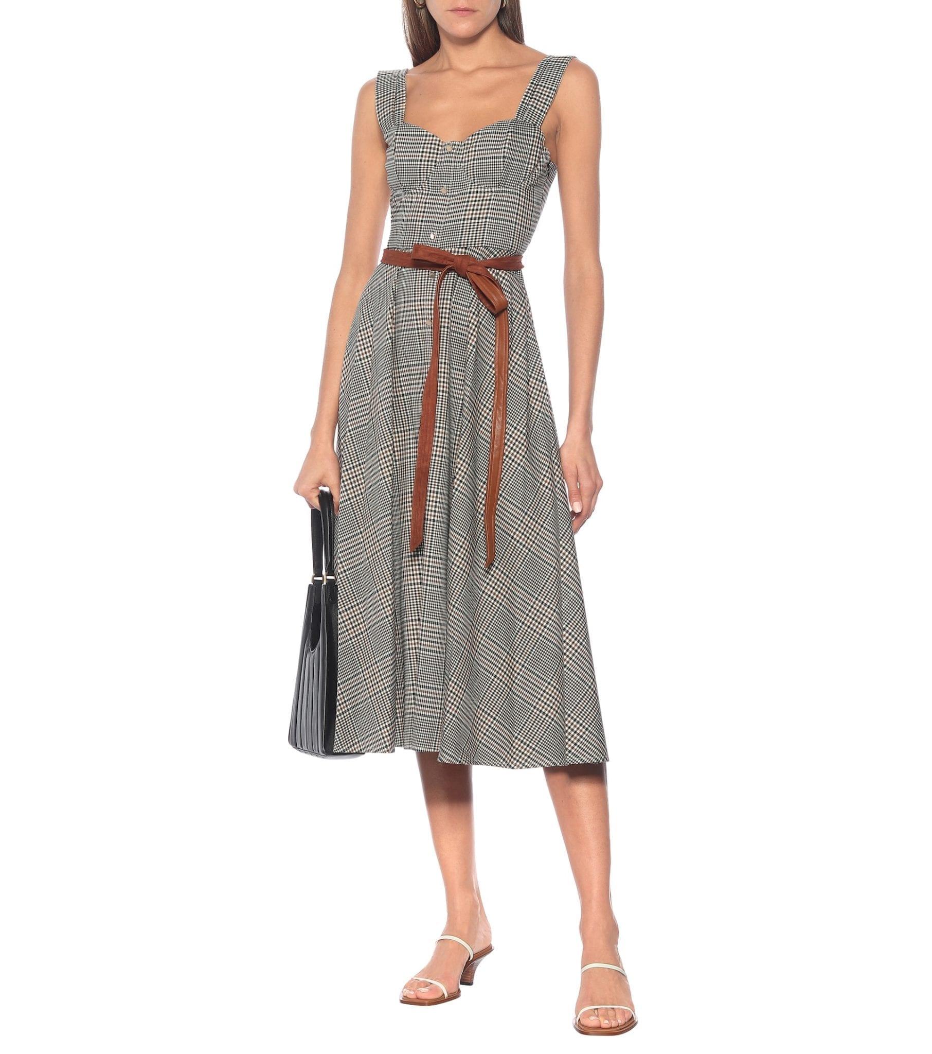 STAUD Inda Checked Midi Dress