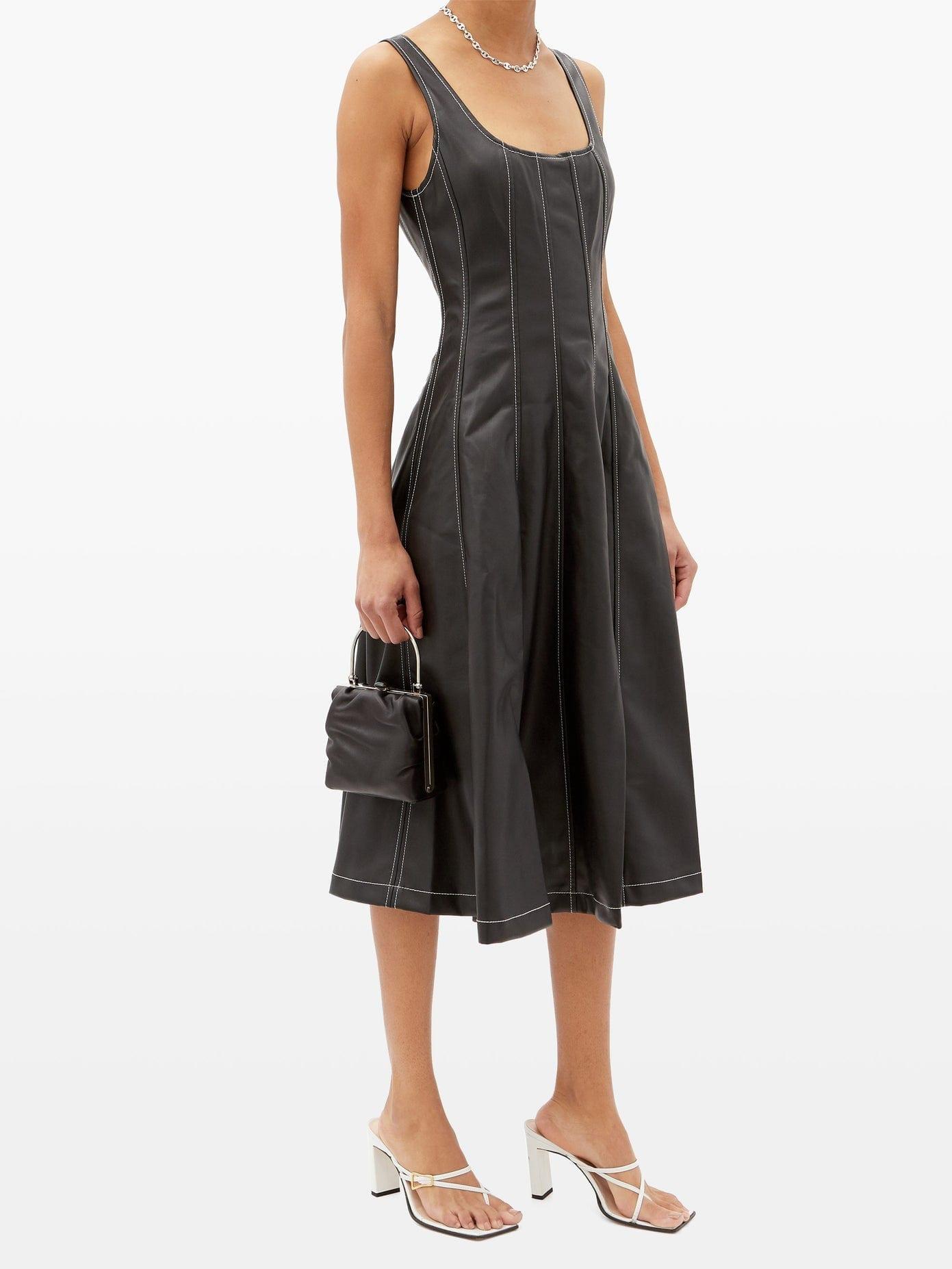 STAUD Wells Panelled Faux-leather Midi Dress