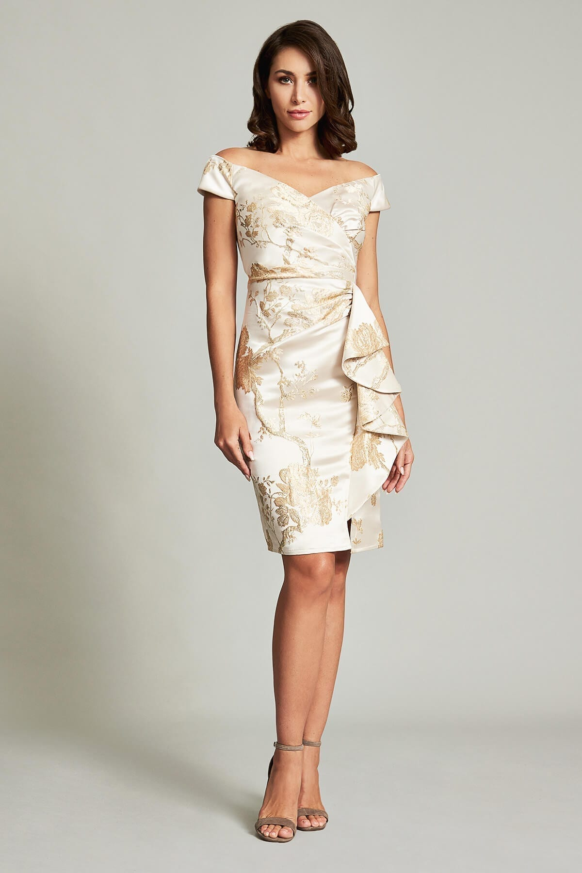 TADASHI SHOJI Sachiko Fitted Flounce Dress