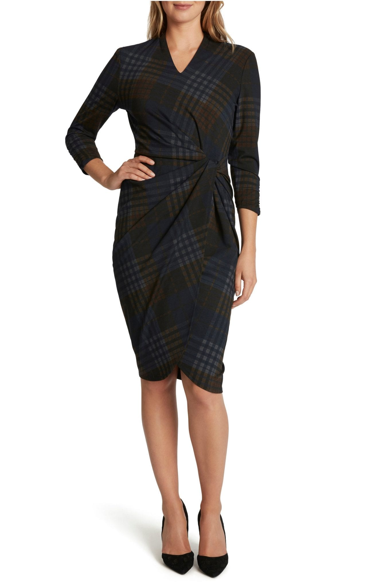 TAHARI Plaid V-Neck Sheath Dress