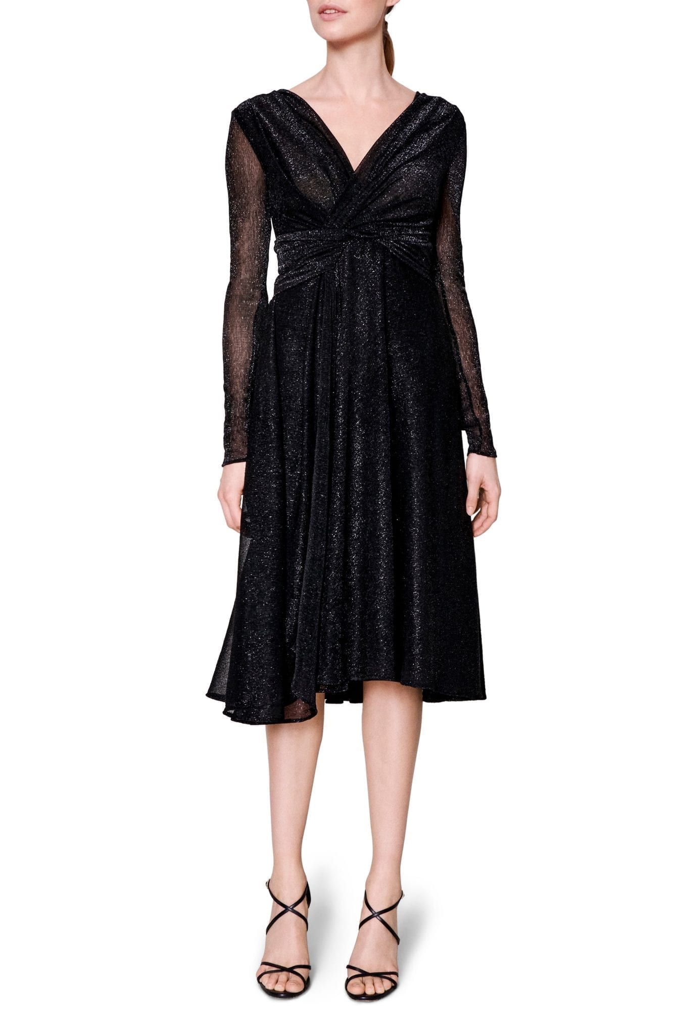 TALBOT RUNHOF Metallic Voile Long Sleeve Dress