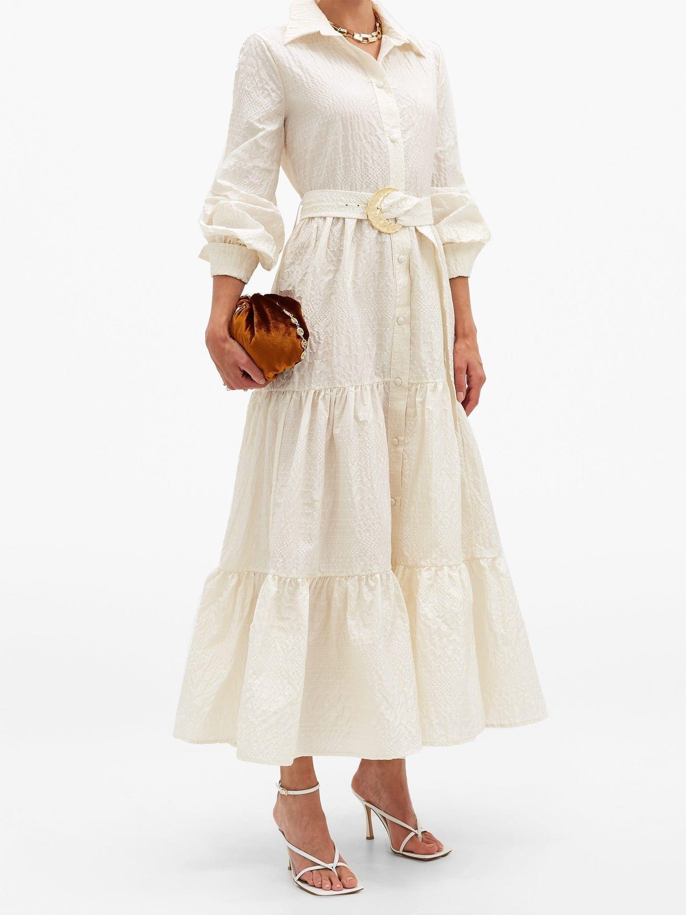 TALLER MARMO Capri Belted Textured Silk-blend Shirt Dress