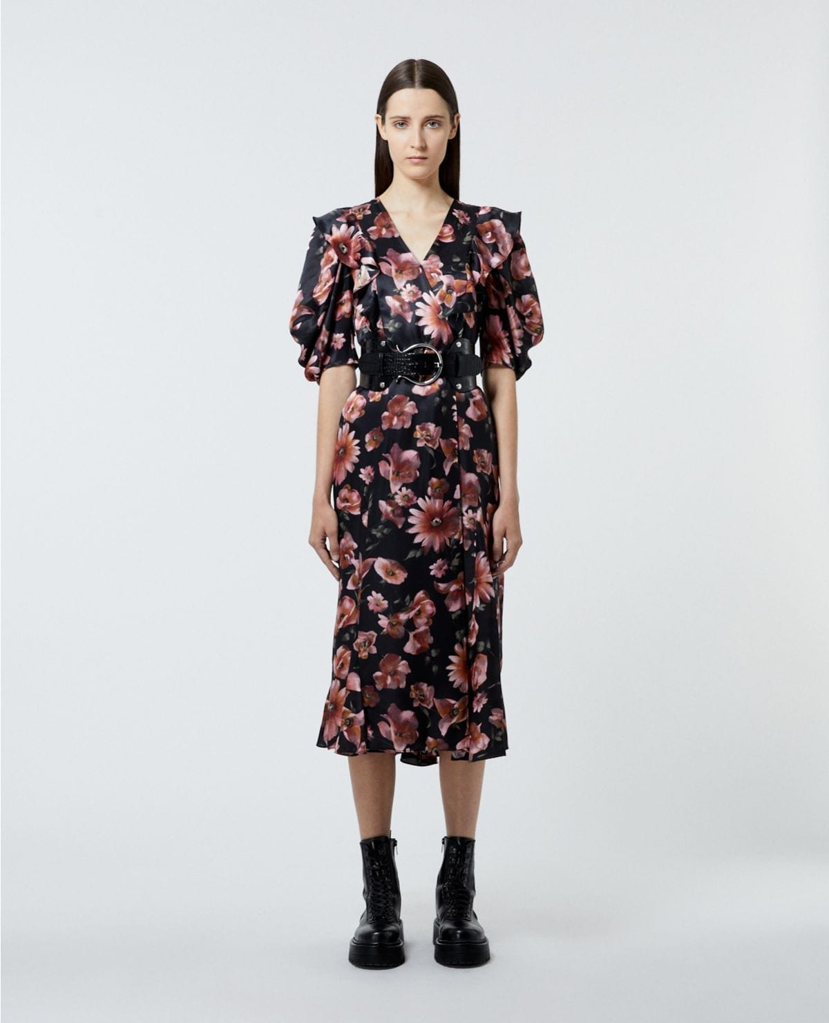 THE KOOPLES Black Printed Wrap Dress