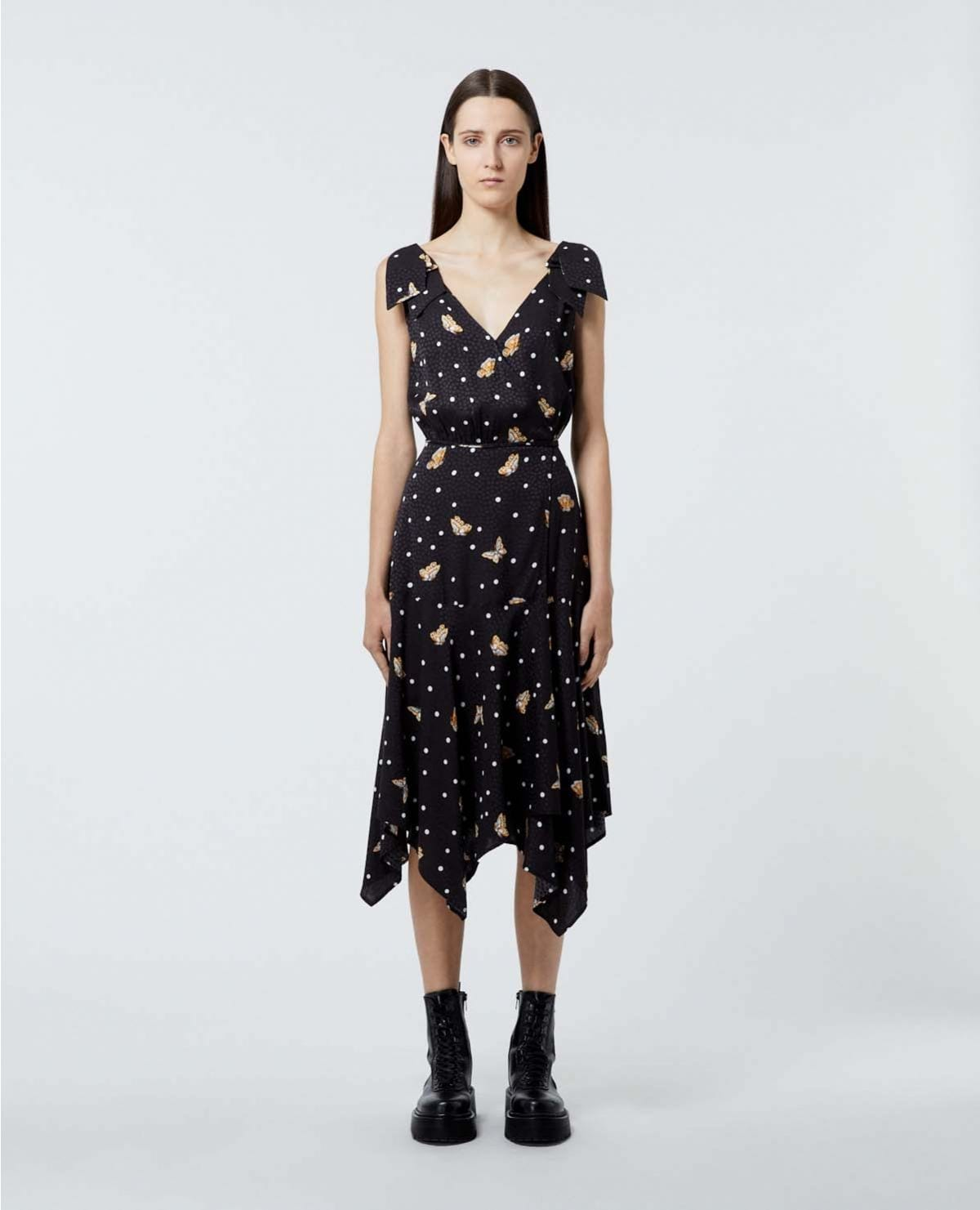 THE KOOPLES Butterfly Motif Black Wrap Dress