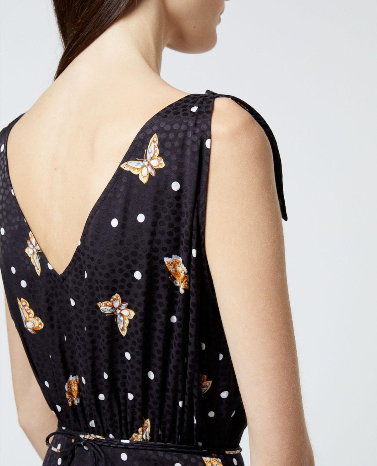 THE KOOPLES Butterfly Motif Black Wrap Dress