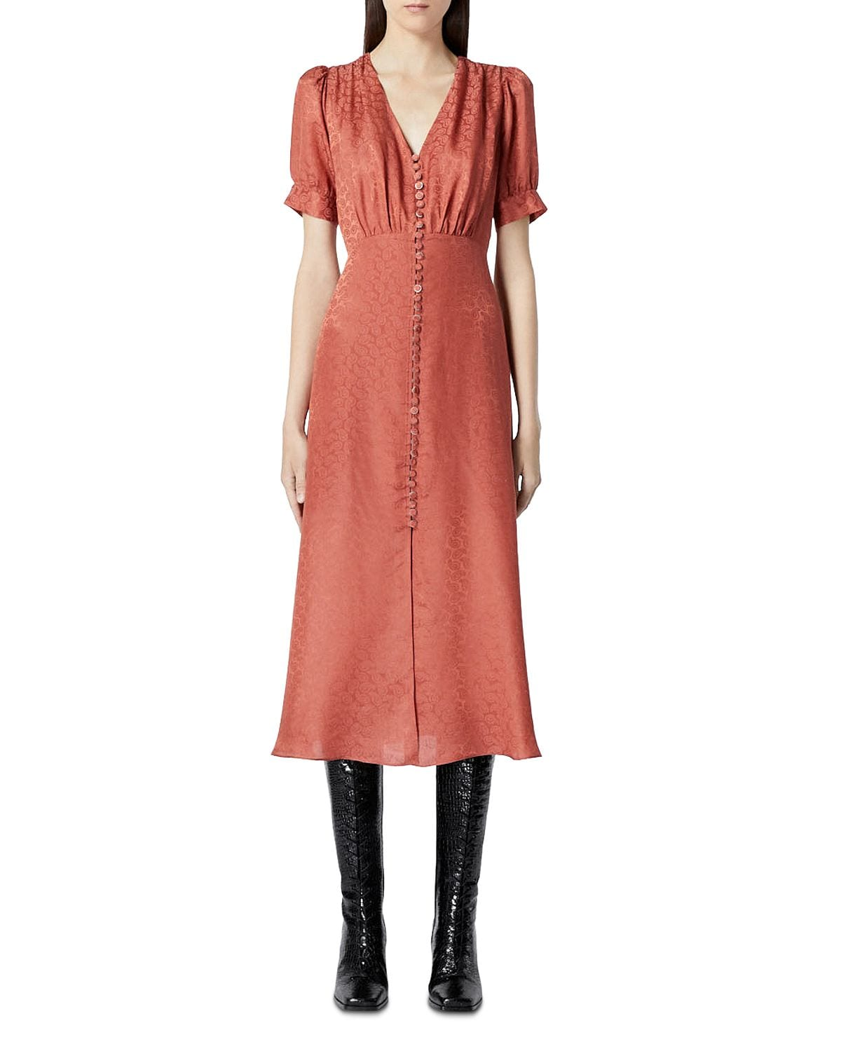 THE KOOPLES Button Front Jacquard Midi Dress